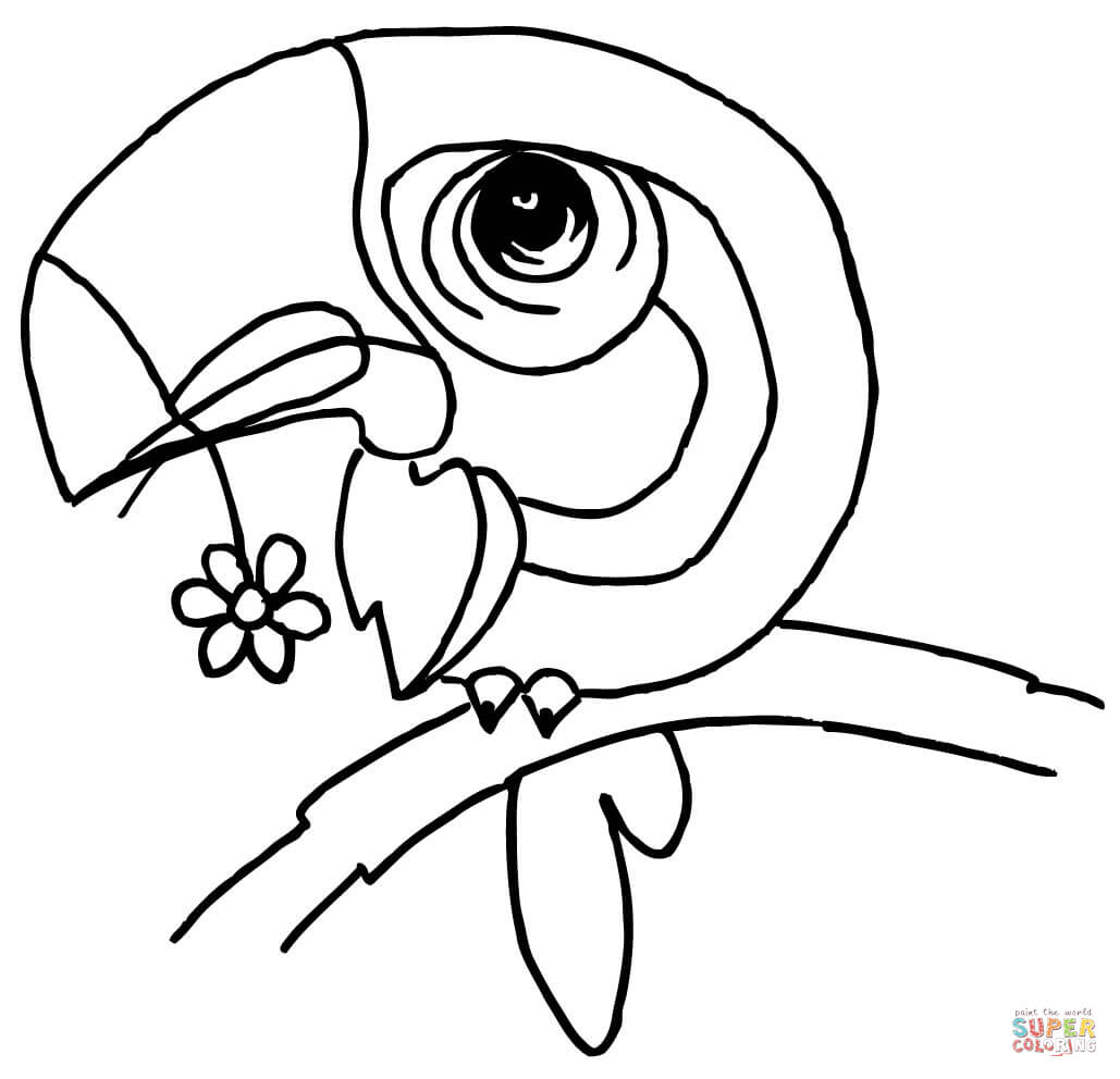 Dibujo De Caricatura De Un Tucan Con Una Flor En El Pico