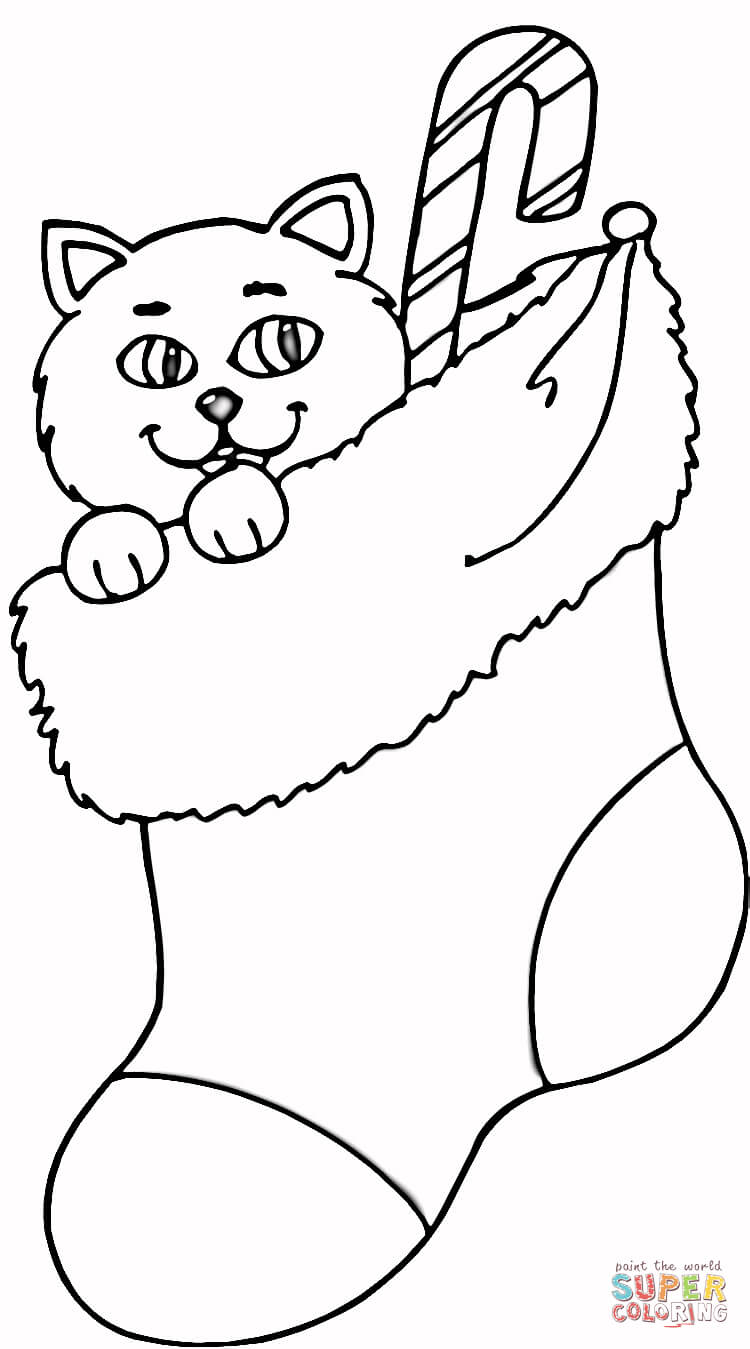 cat in stocking coloring page free printable coloring pages