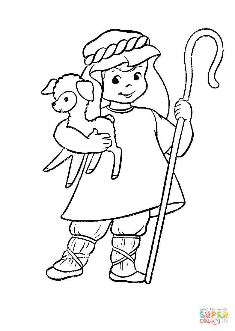 Shepherd With A Lamb In His Hands Coloring Page Free Printable