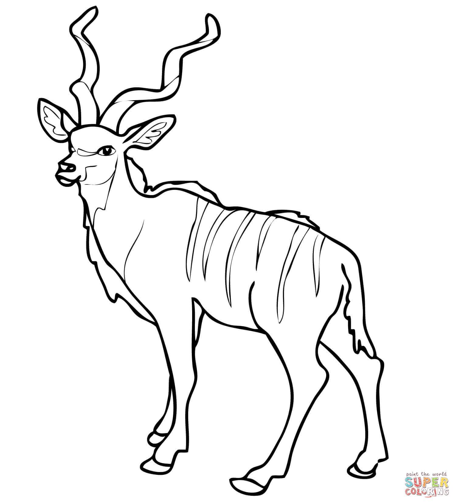 African Woodland Antelope Kudu Coloring Page
