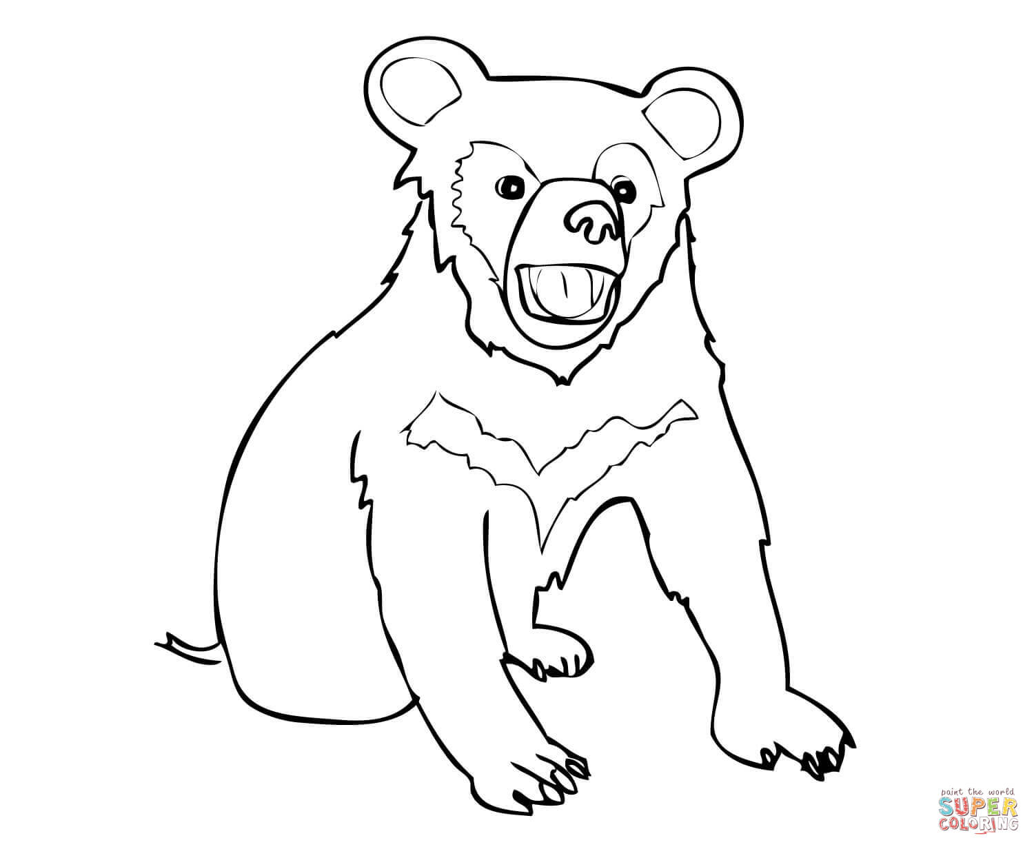 Asia Black Bear Cub Coloring Page