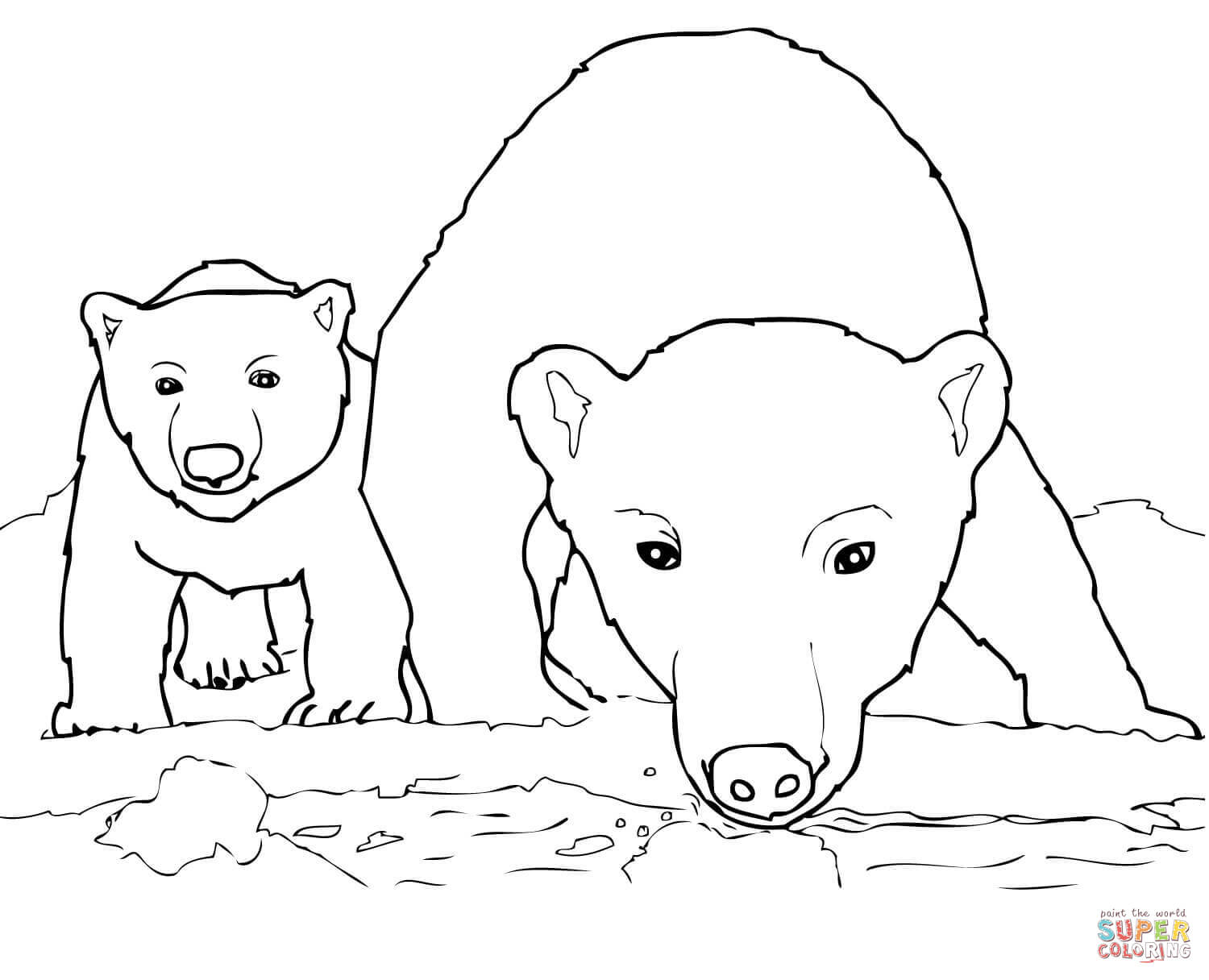 Curious Polar Bear Mother And Cub Coloring Page