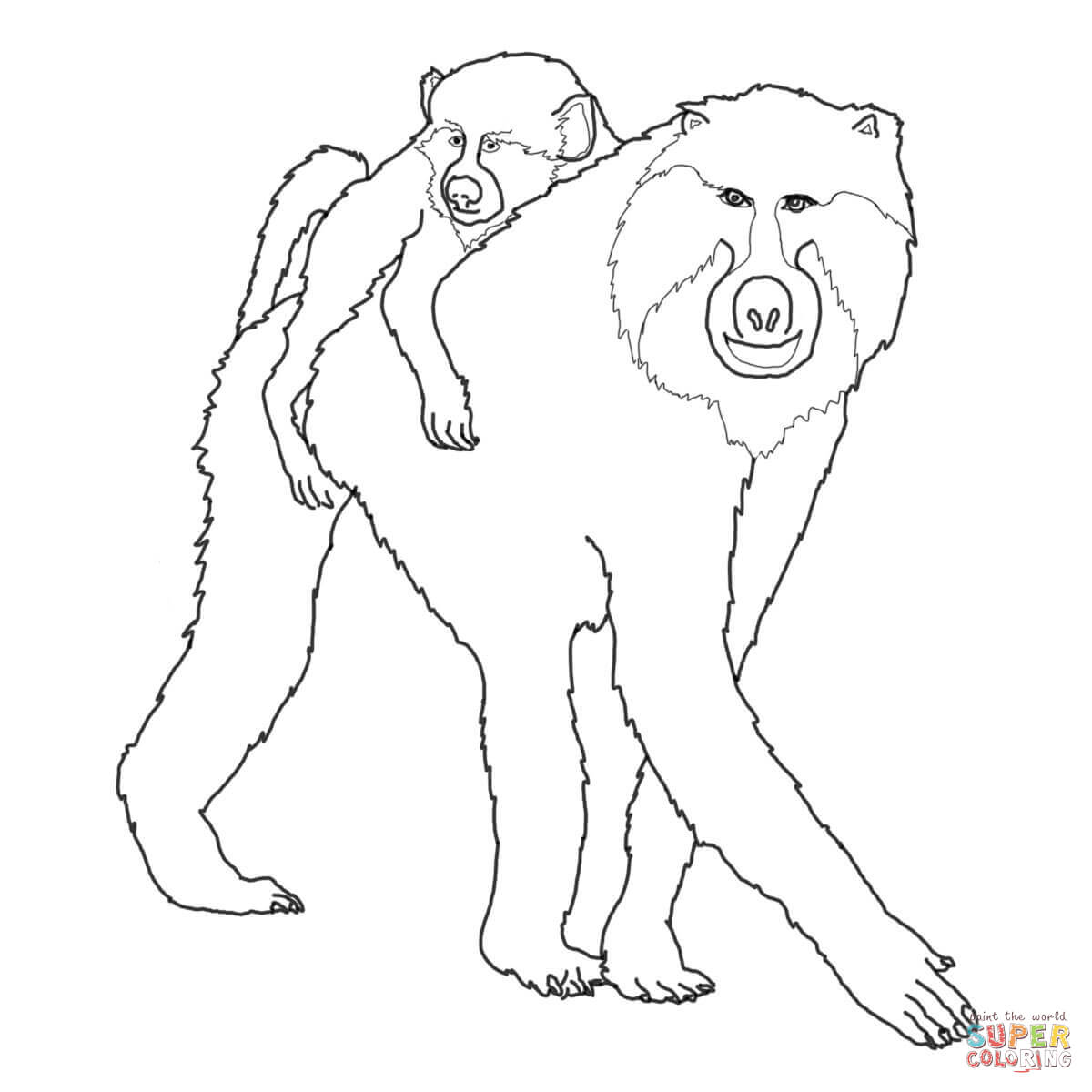 Mohter And Baby Baboon Coloring Page
