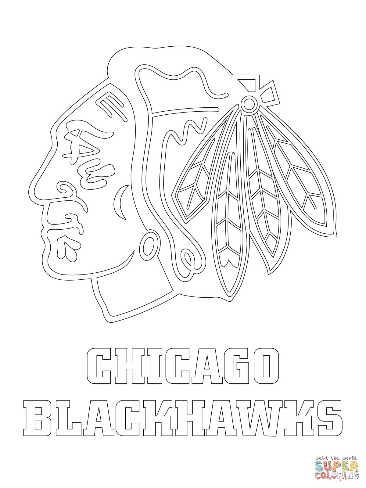 chicago blackhawks logo coloring page free printable coloring pages