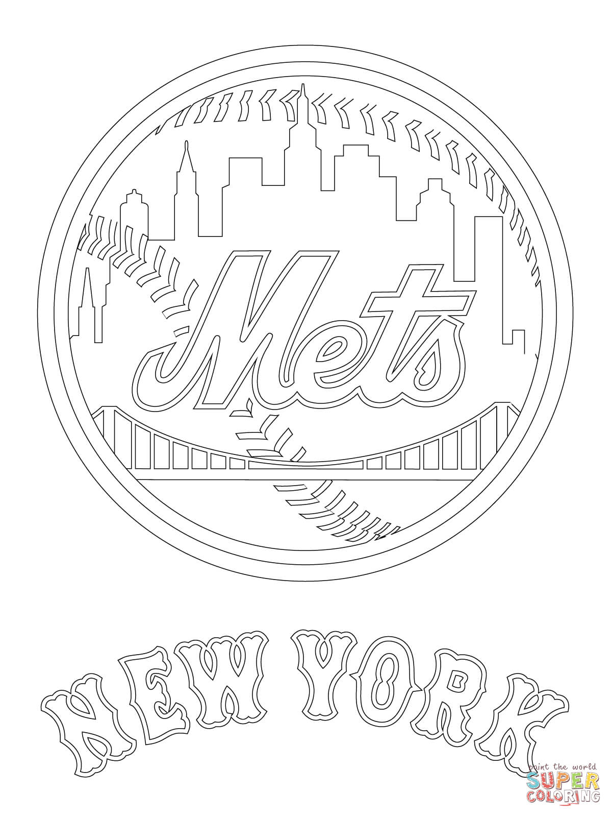 Ny Mets Coloring Printables Coloring Pages