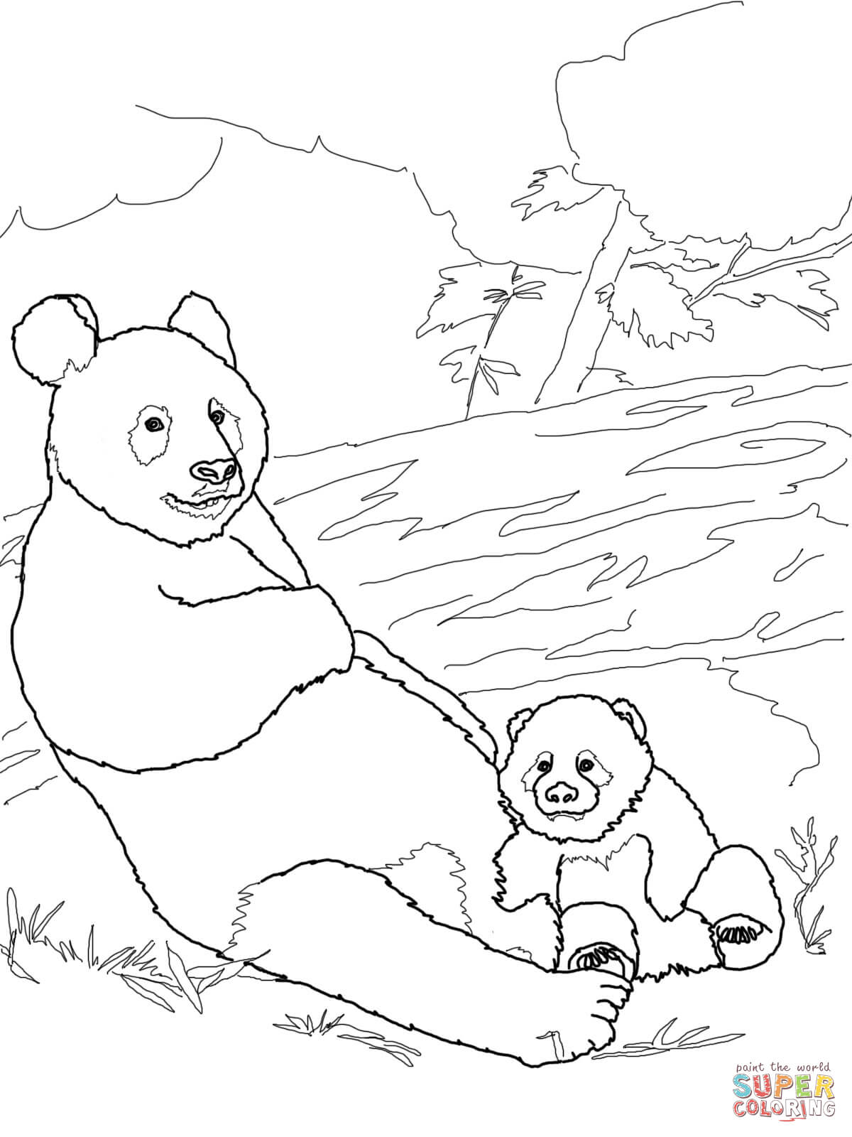 Panda Mother With Baby Panda Coloring Page