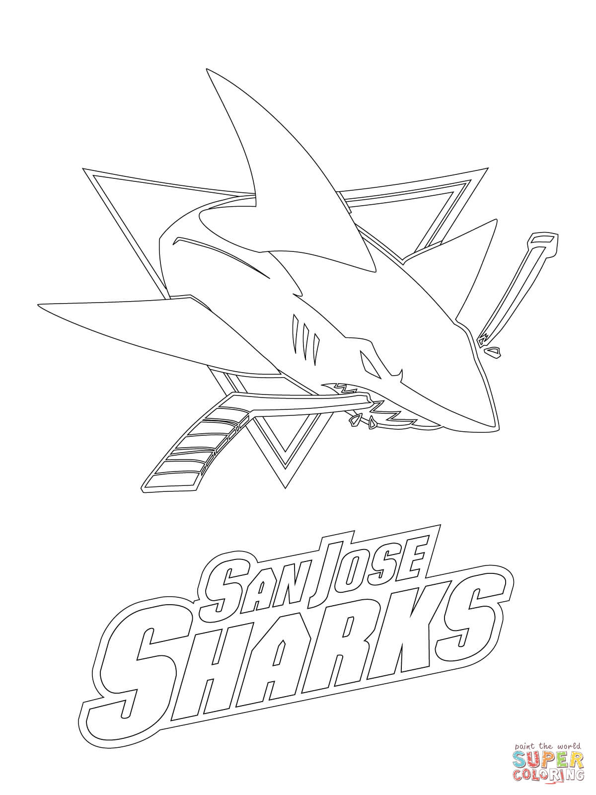 san jose sharks logo coloring page free printable coloring pages