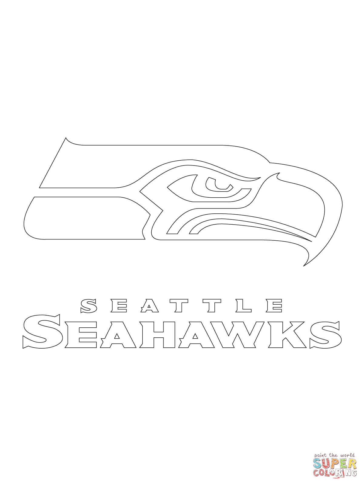 seattle seahawks logo coloring page free printable coloring pages
