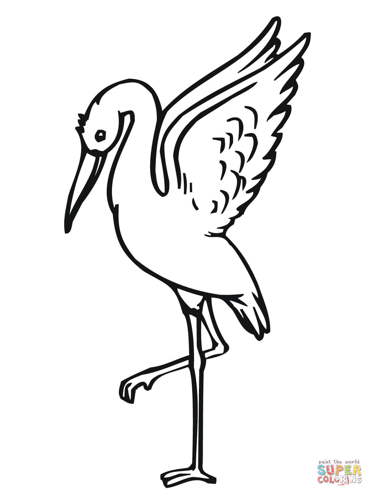 Stork Taking Off Coloring Page