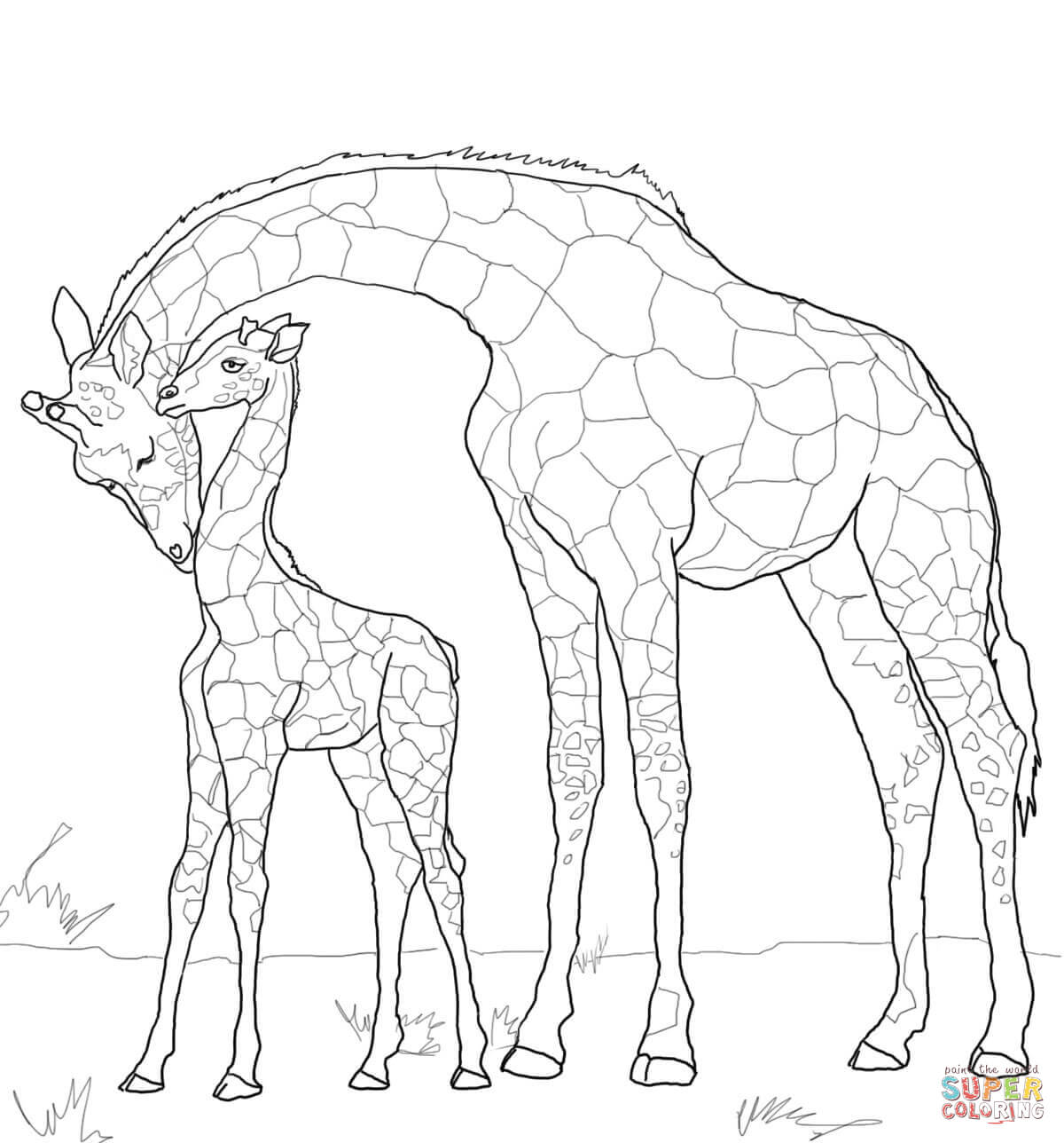 baby giraffe and mother coloring page free printable coloring pages