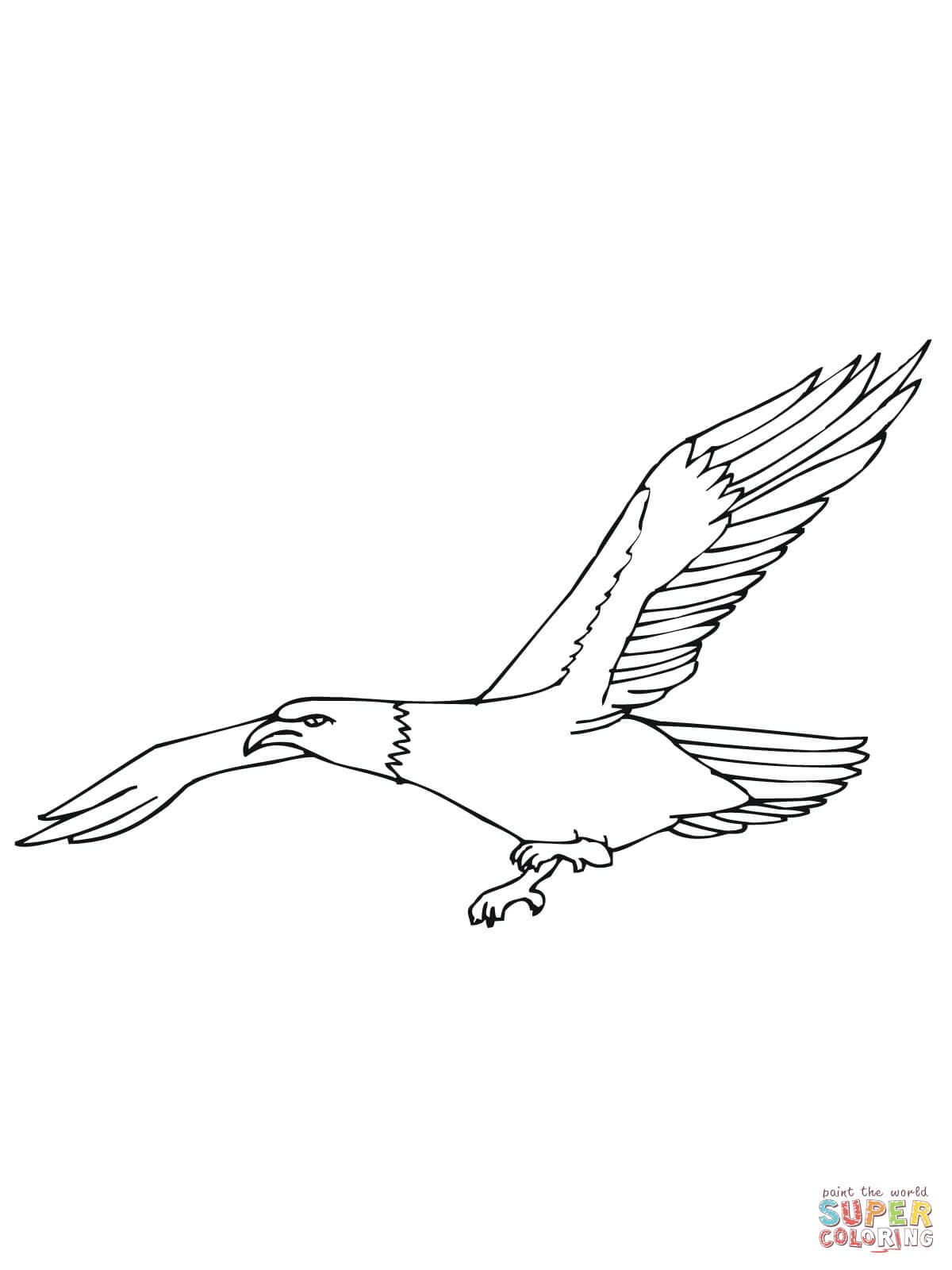 Bald Eagle Flying Coloring Page