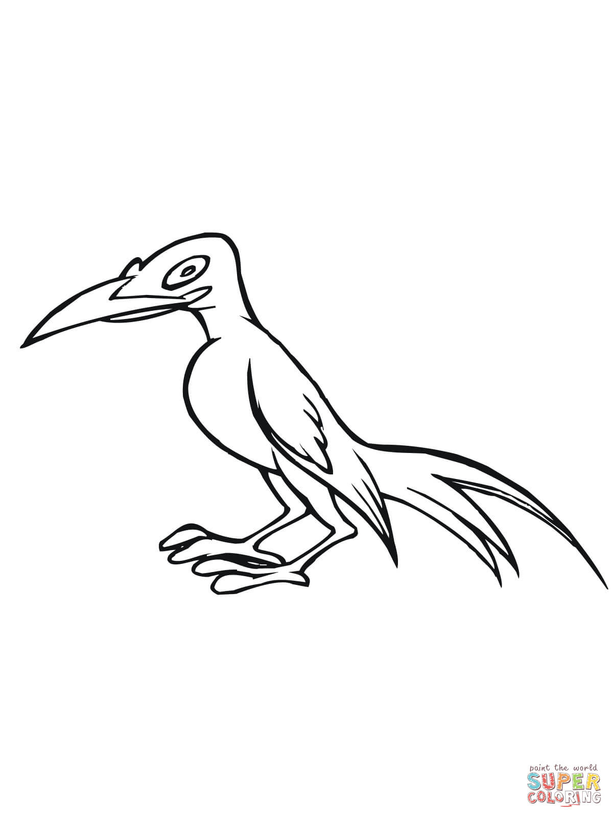 Caricature Magpie Bird Coloring Page