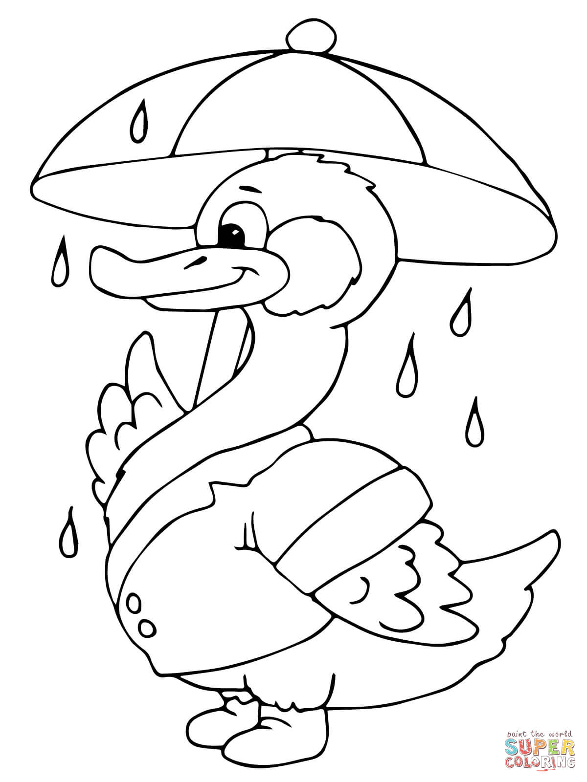 Duck With Umbrella Under The Rain Coloring Page Free Printable