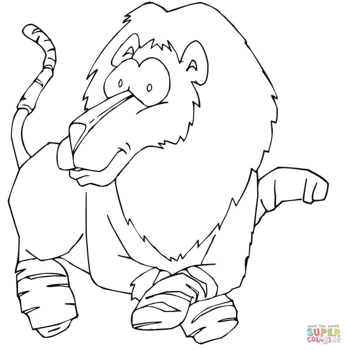 Funny Lion Coloring Page