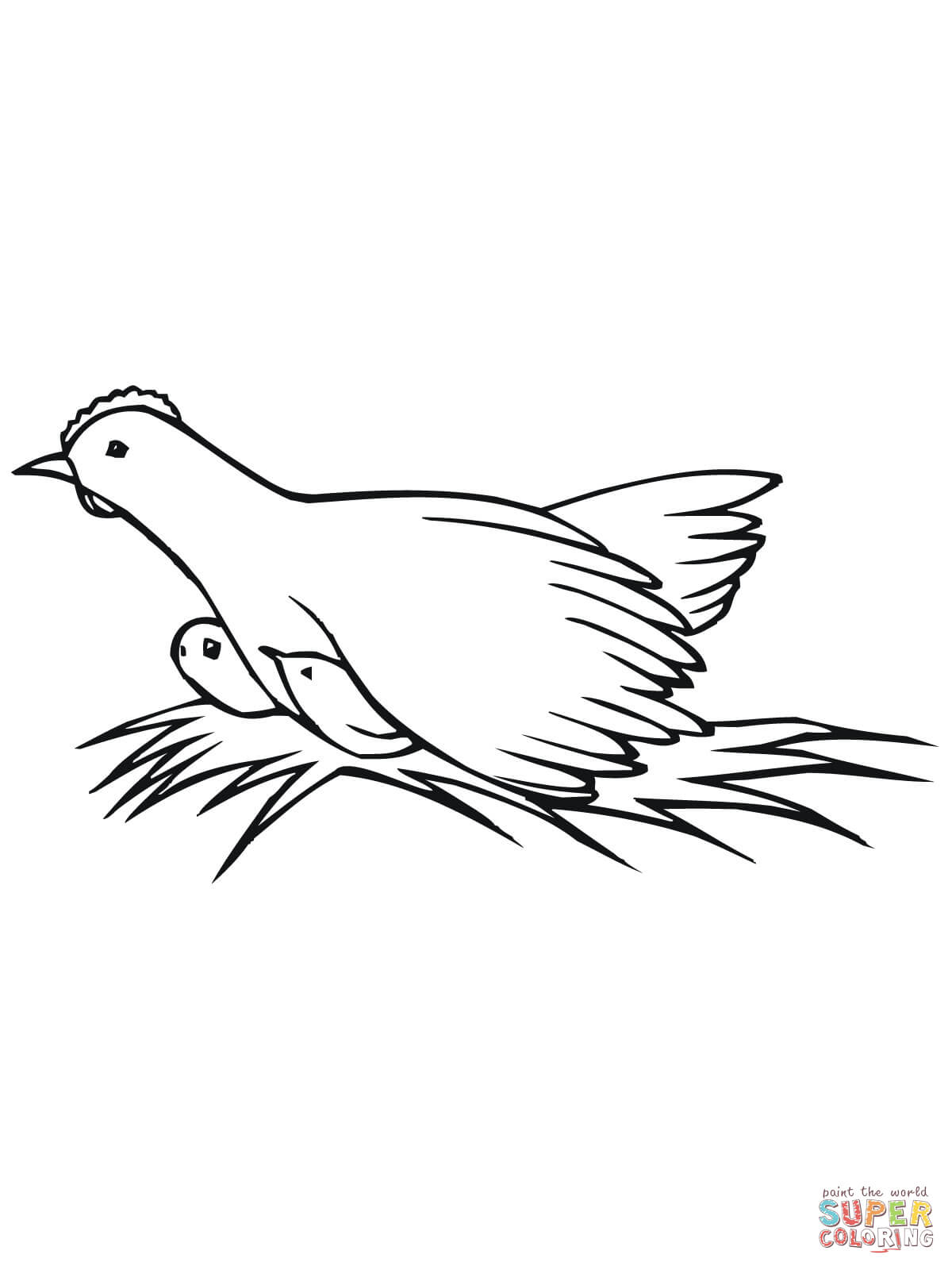 Hen On Nest With Chicks Coloring Page
