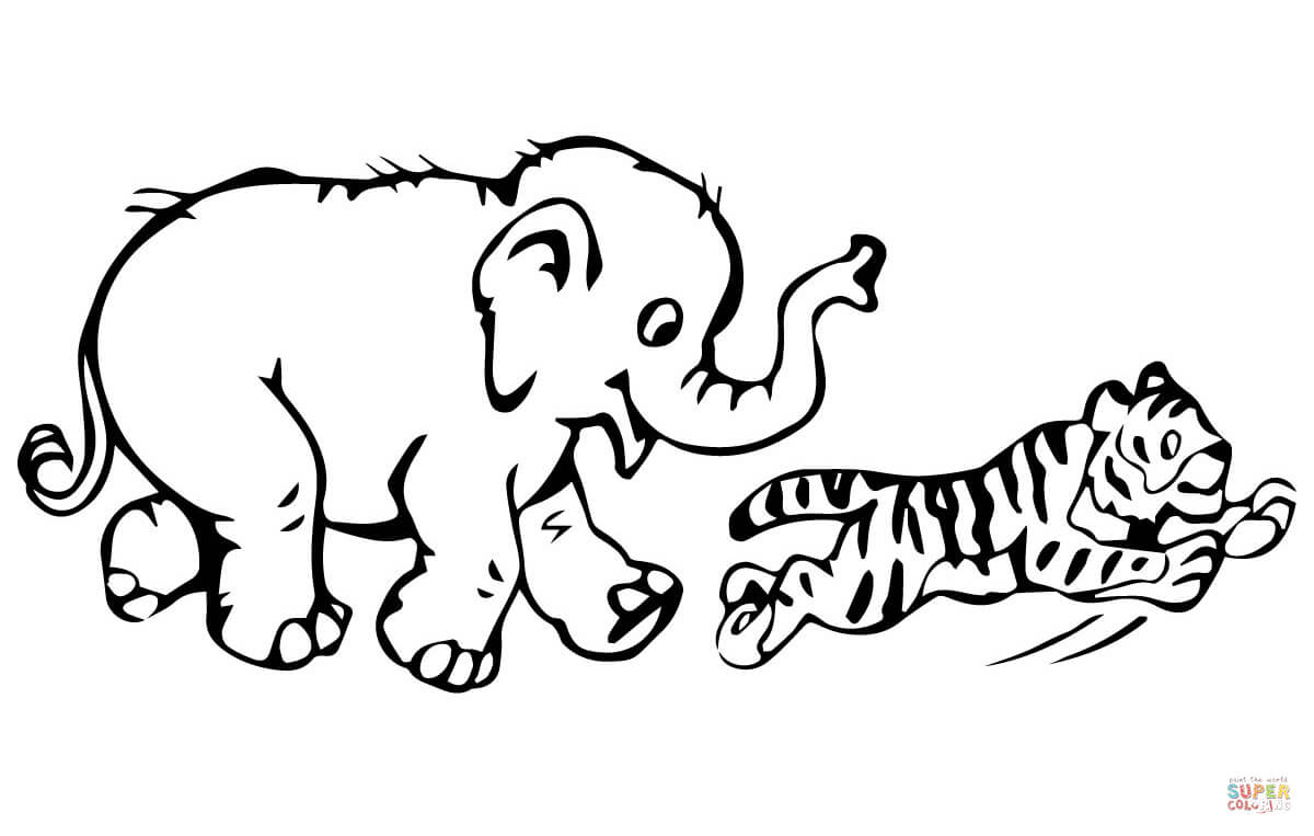 tiger cub plays with baby elephant coloring page free printable