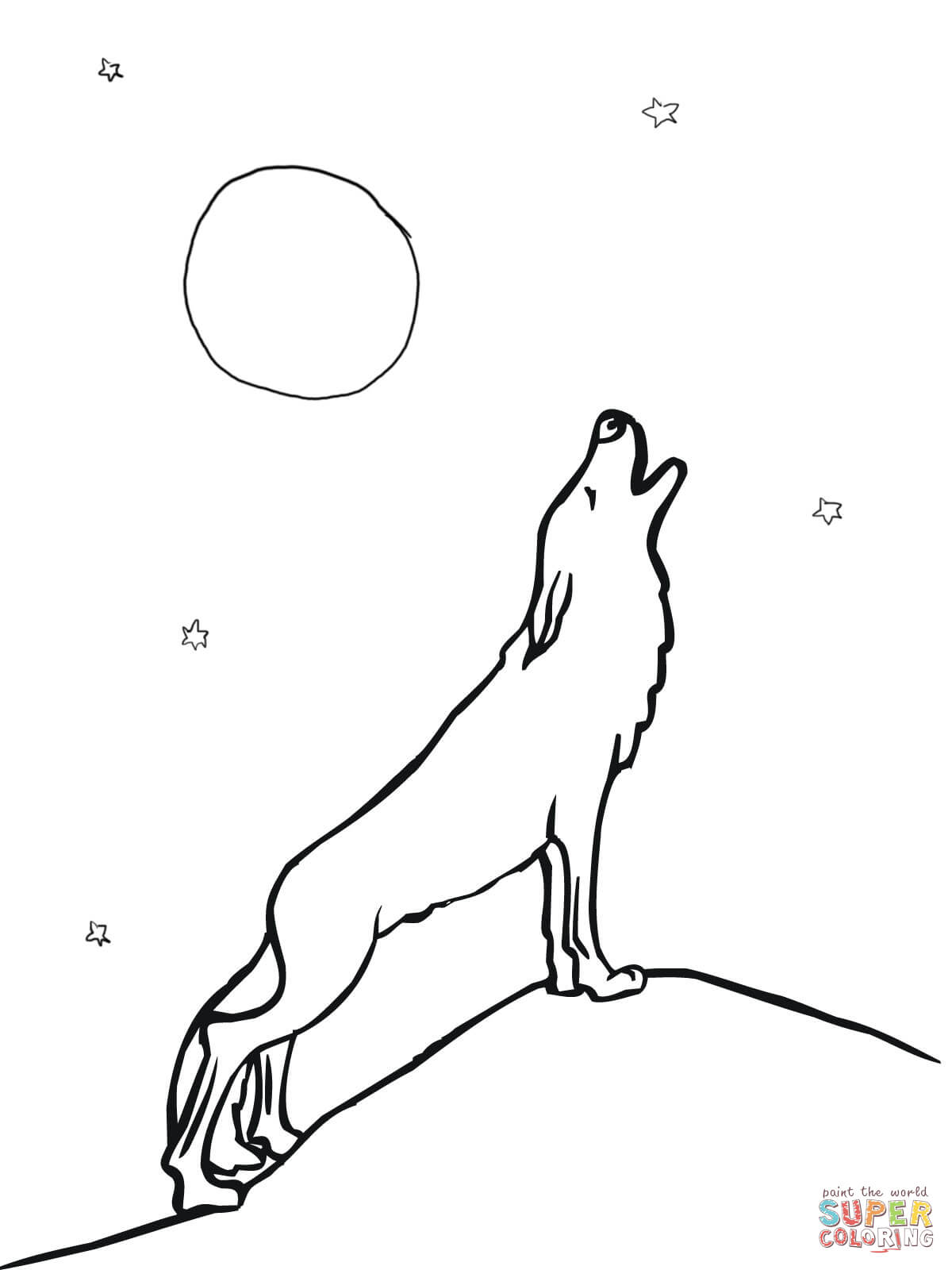 wolf howling at free printable