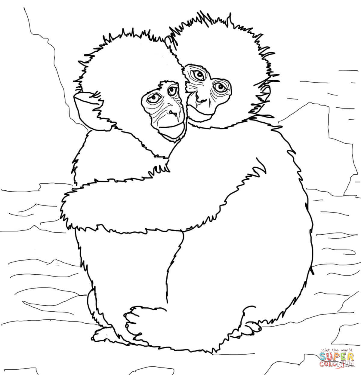 Hugging Snow Monkeys Coloring Page