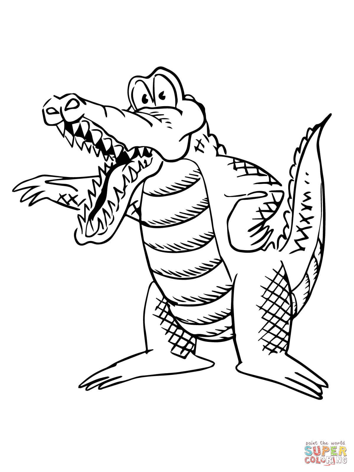 Cartoon Alligator Coloring Page