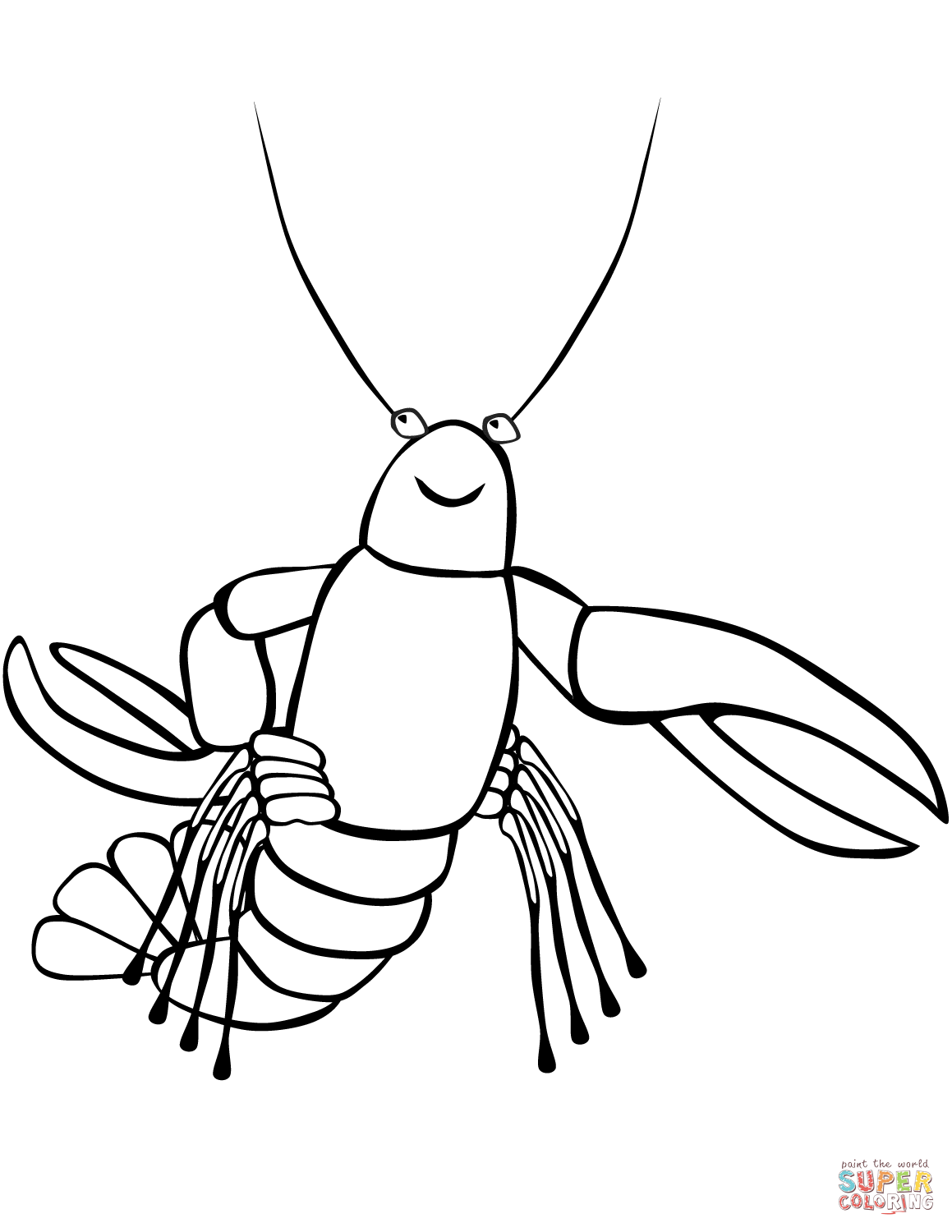 Funny Crayfish Coloring Page
