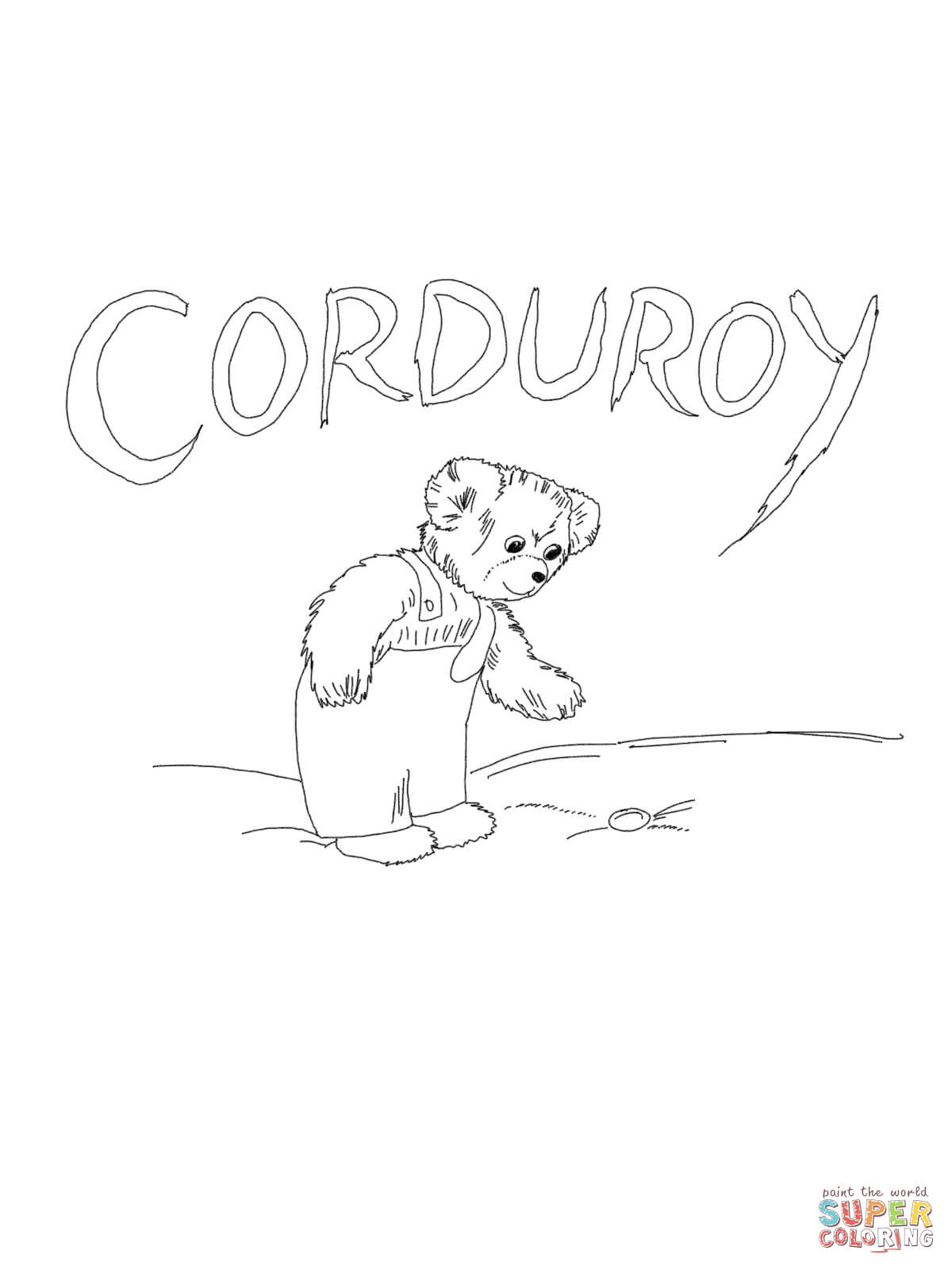 Corduroy Is Looking For Button Coloring Page