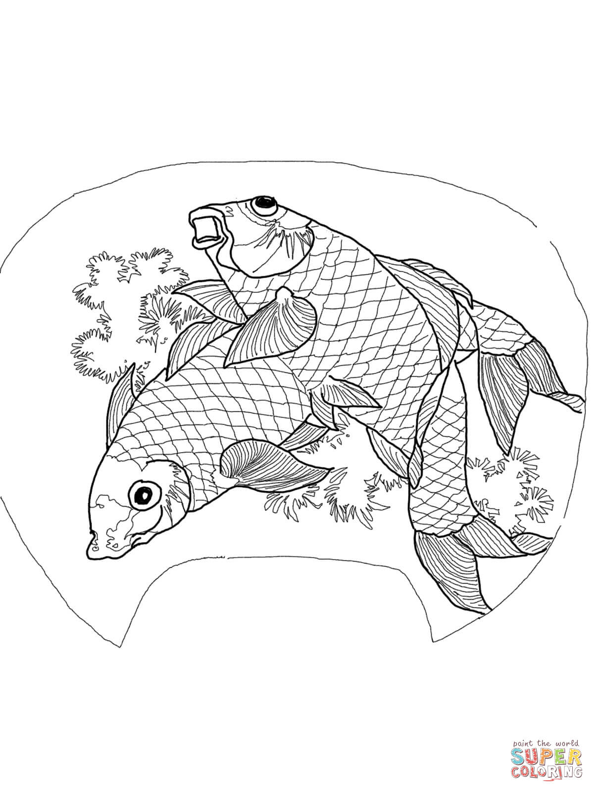 Two Carps By Katsushika Hokusai Coloring Page