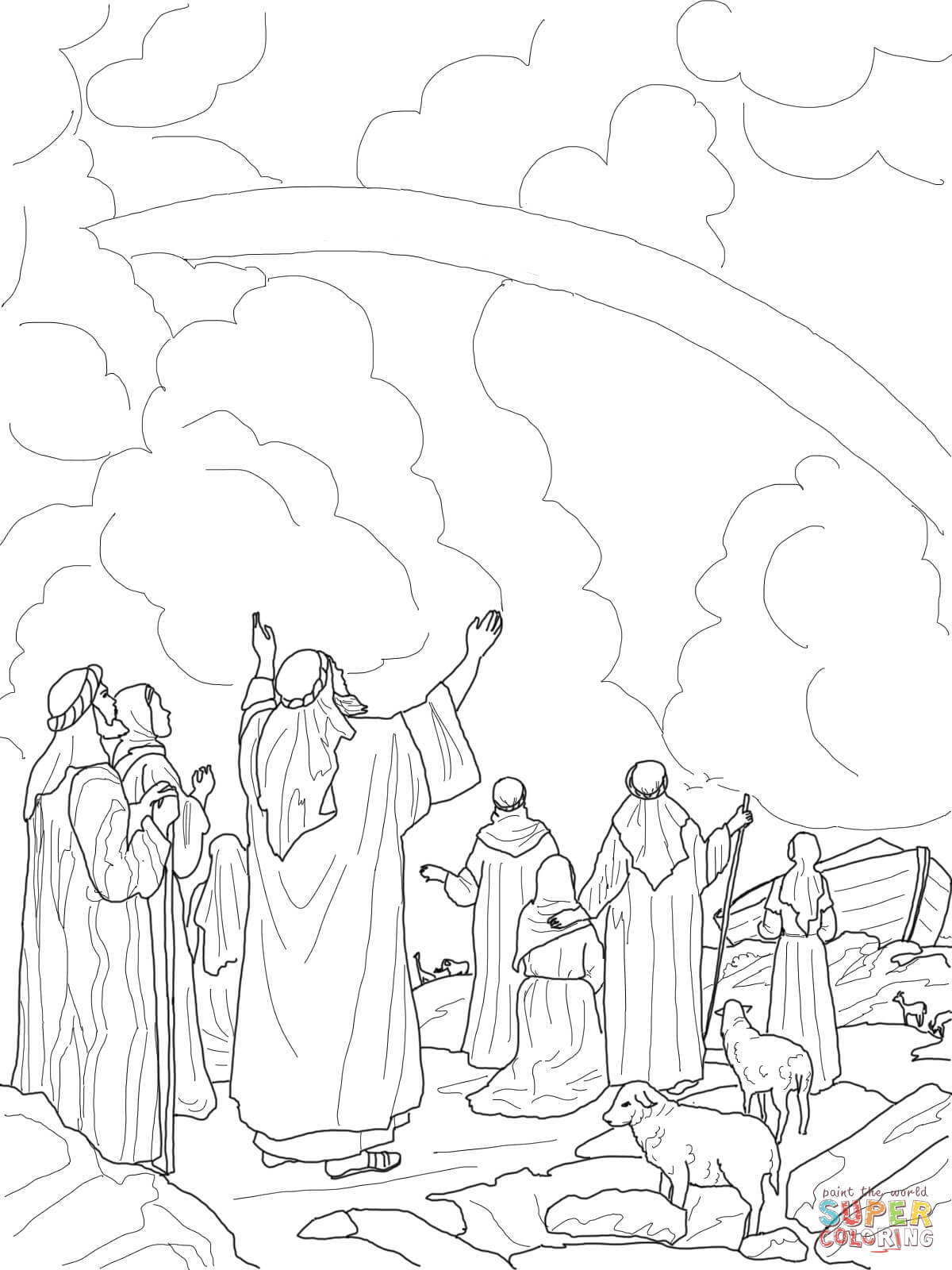 God S Rainbow Covenant With Noah Coloring Page