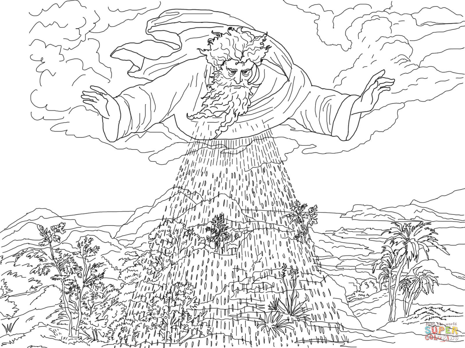 Third Day Of Creation Coloring Page