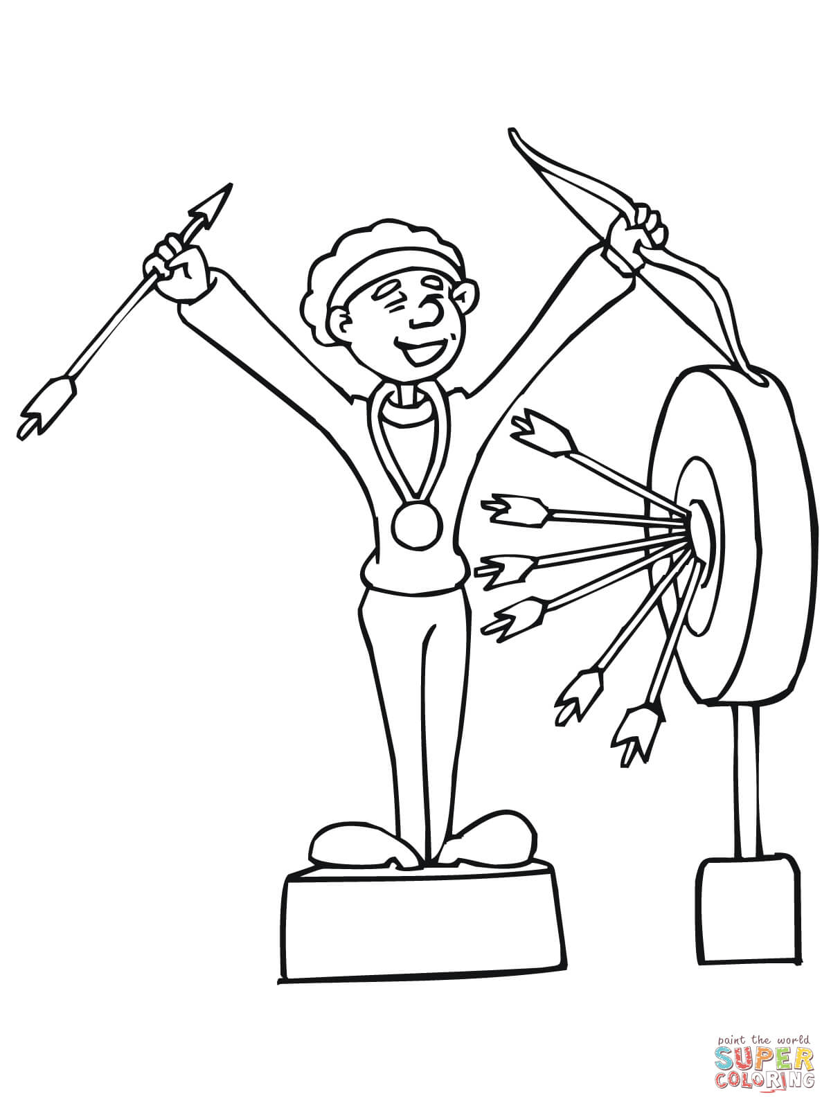 Archery Competition Winner Coloring Page