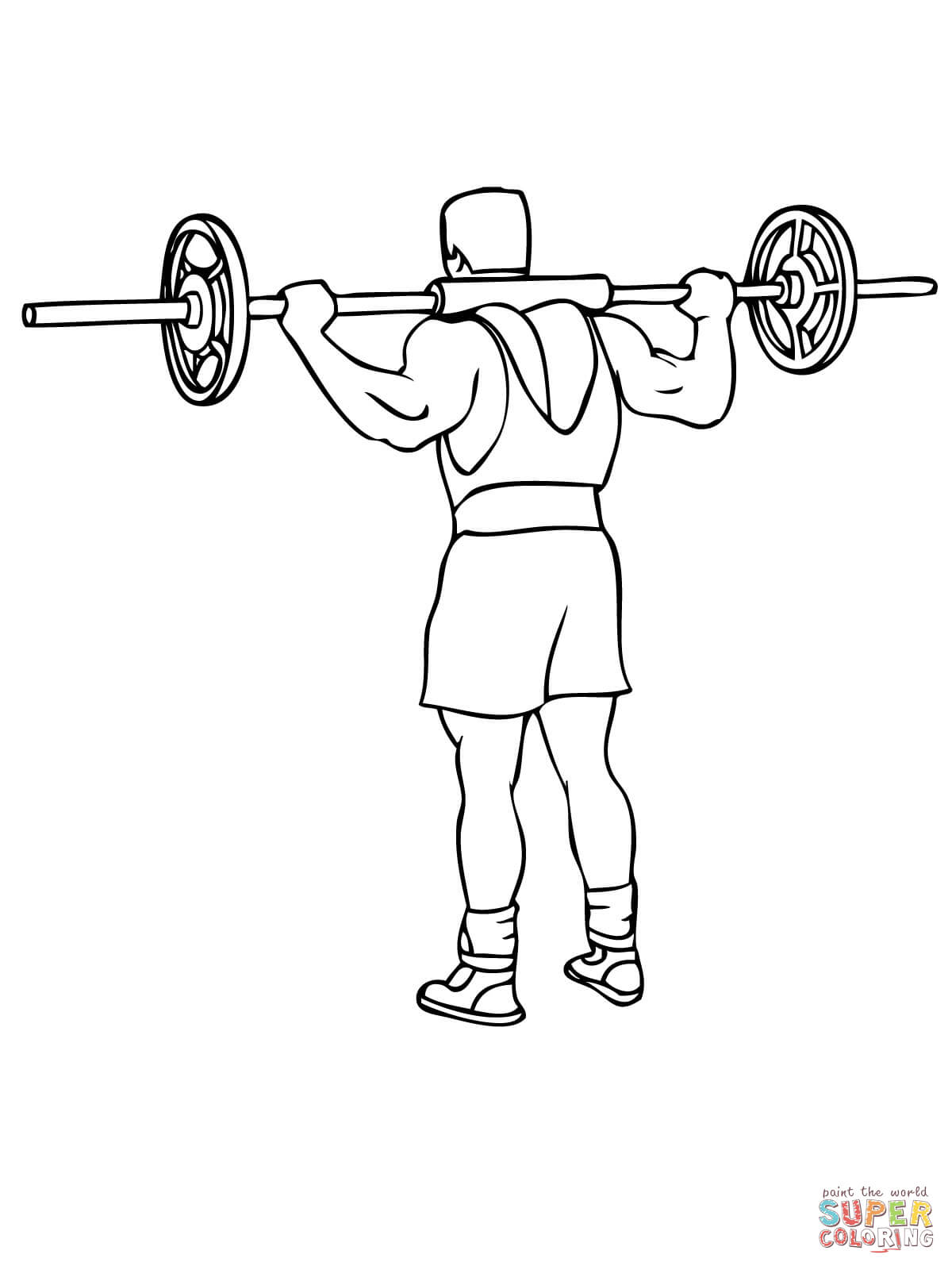 Barbell Good Morning Exercise Coloring Page