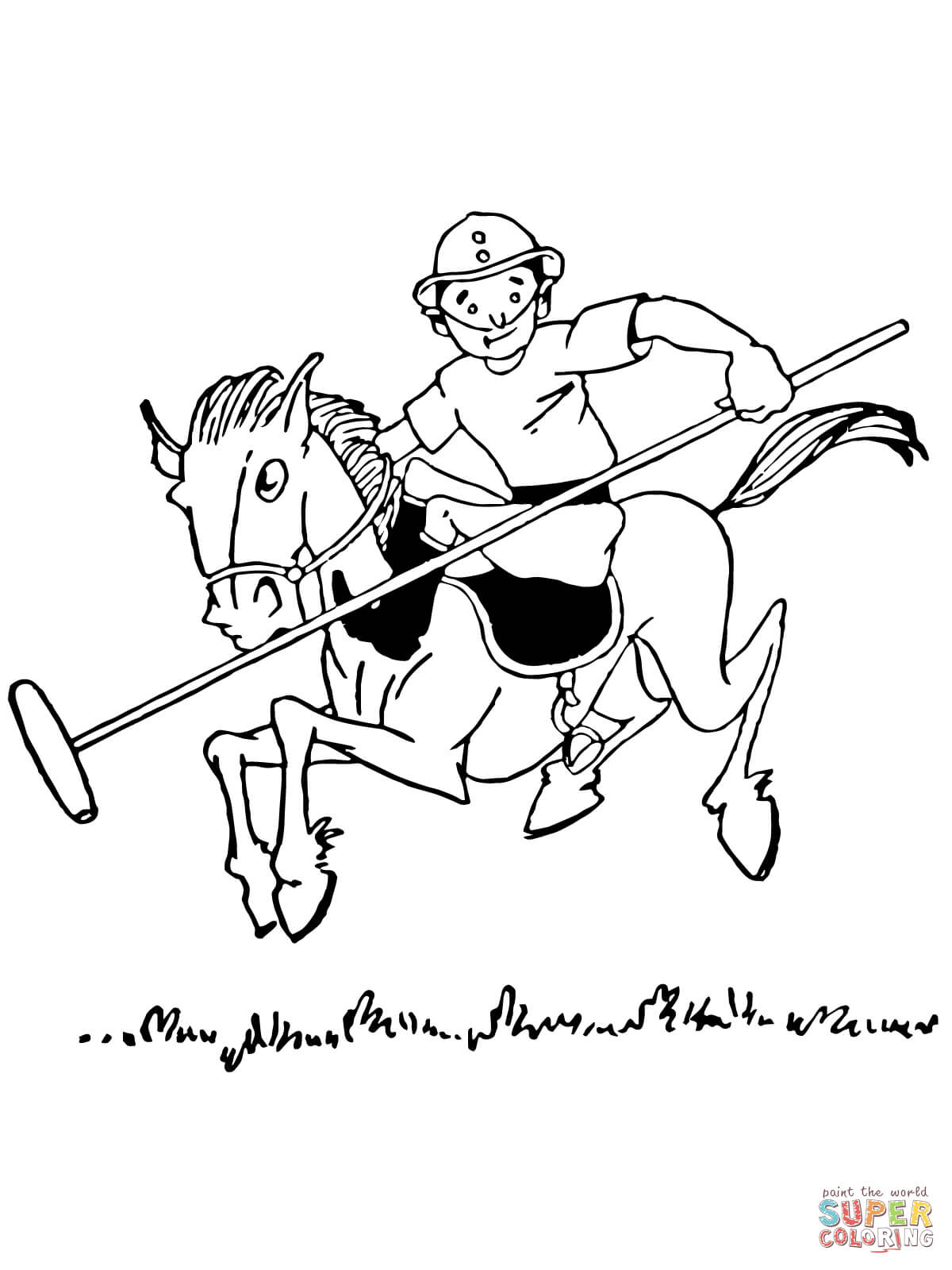 Boy Plays Polo Coloring Page