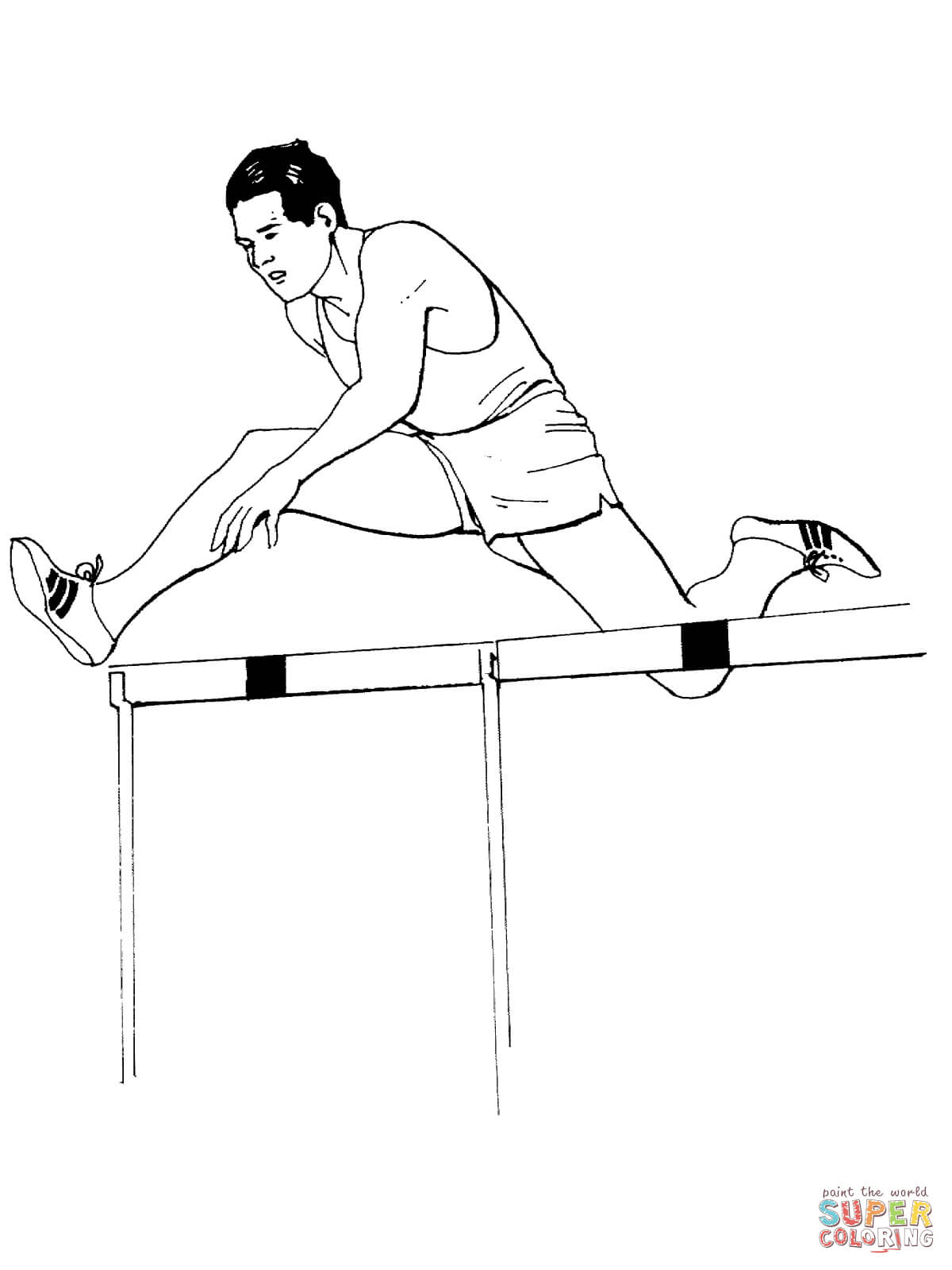 Hurdling Race Coloring Page