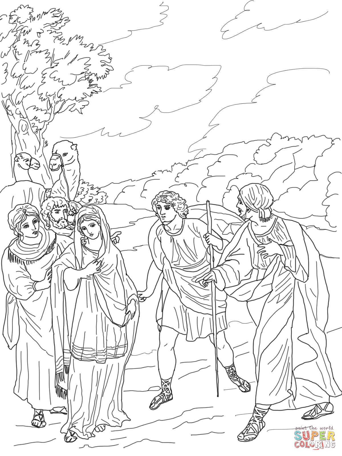 Isaac First Meets Rebekah Coloring Page