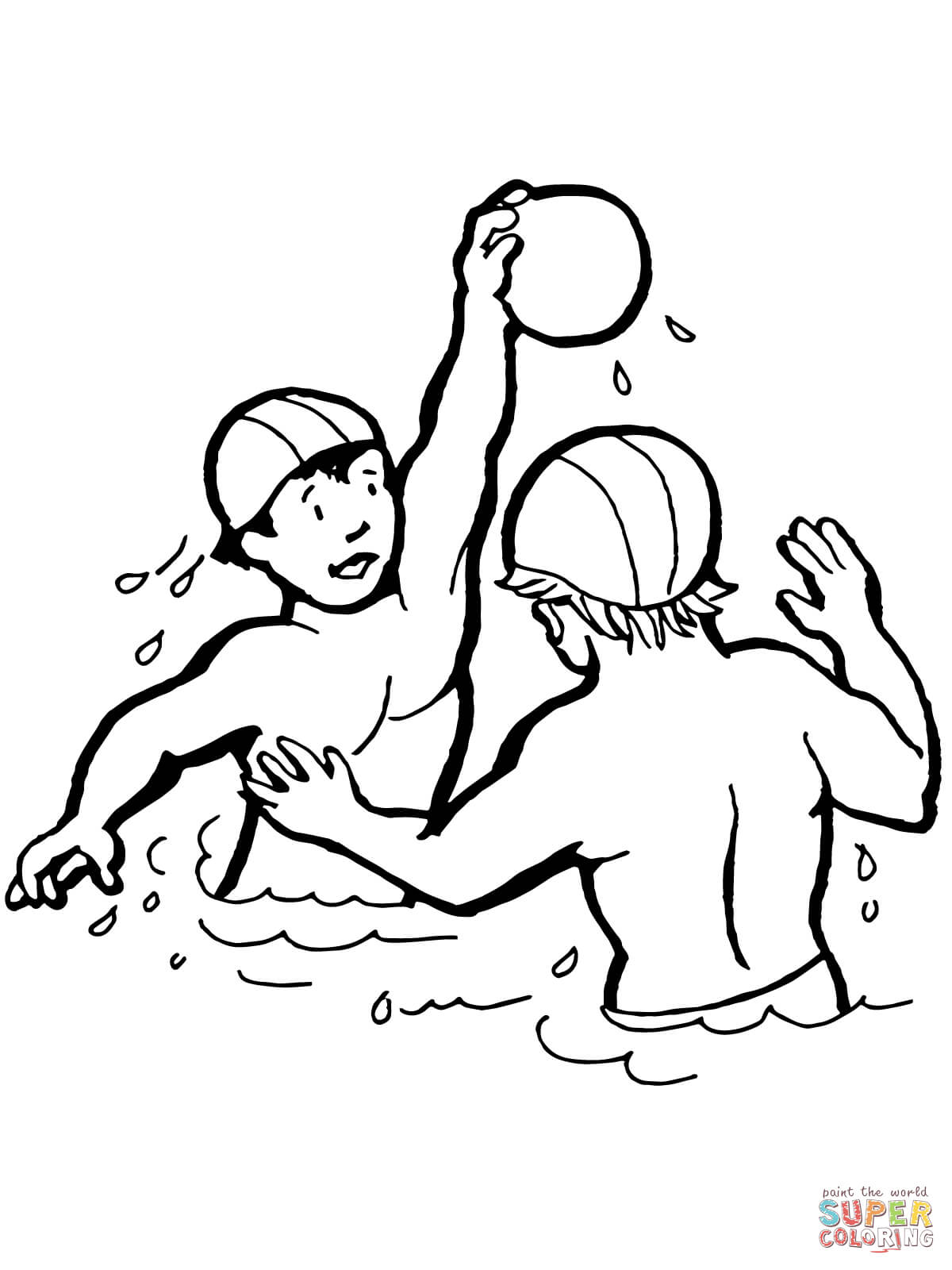 Kids Playing Water Polo Coloring Page
