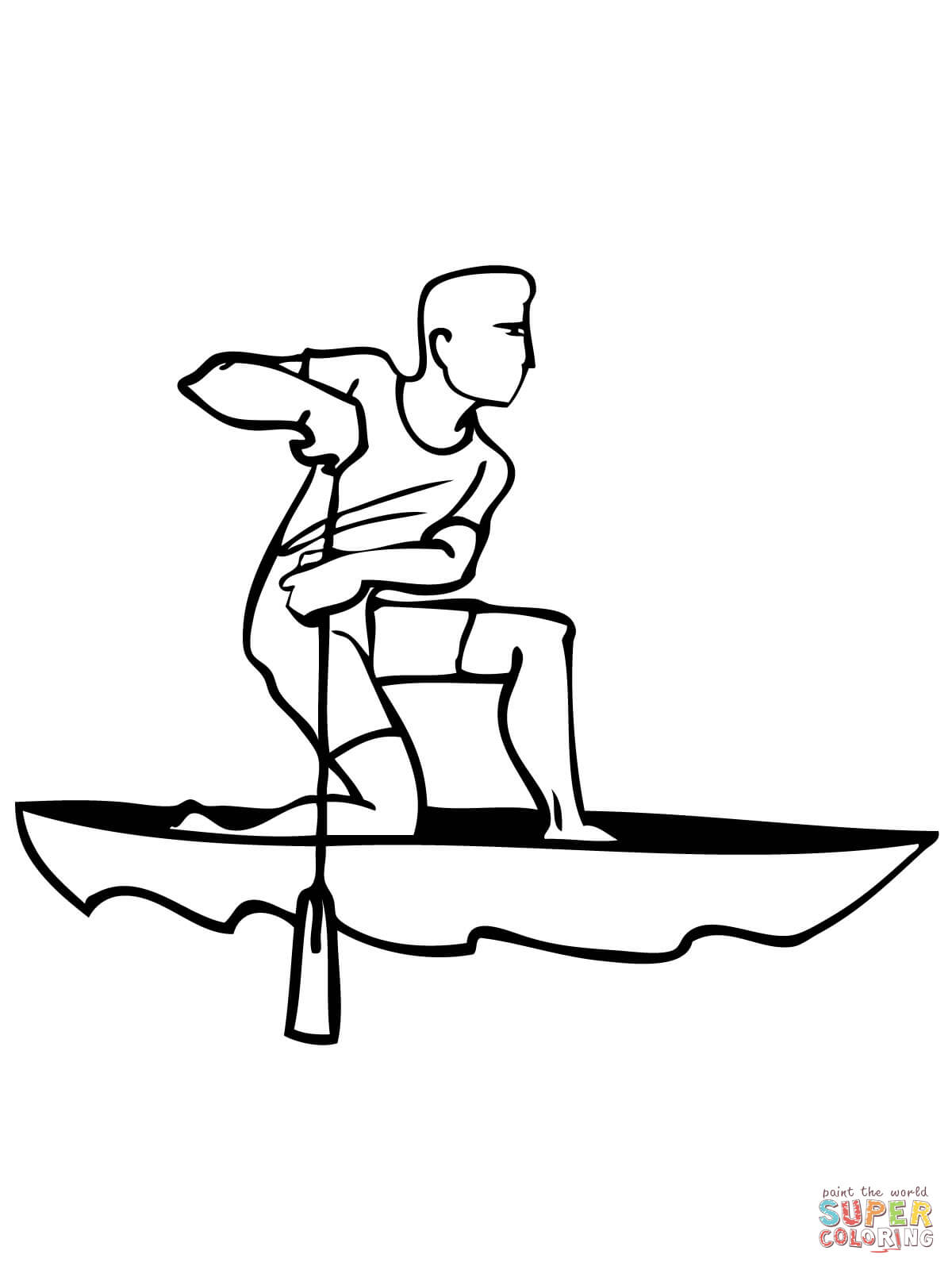 Paddling In Canoe Coloring Page