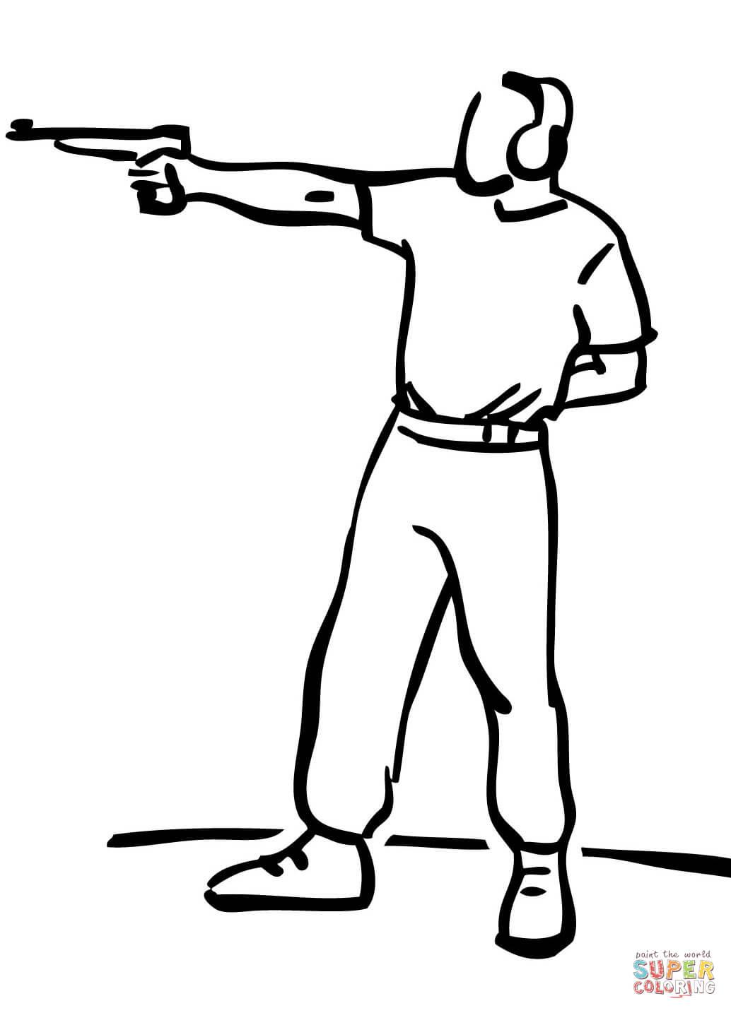 Pistol Target Shooting Coloring Page
