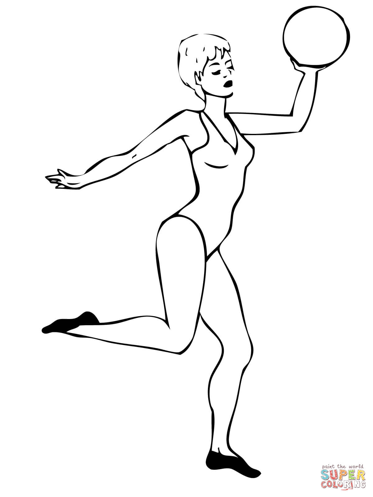 Rhythmic Gymnast Perfoming With A Ball Coloring Page