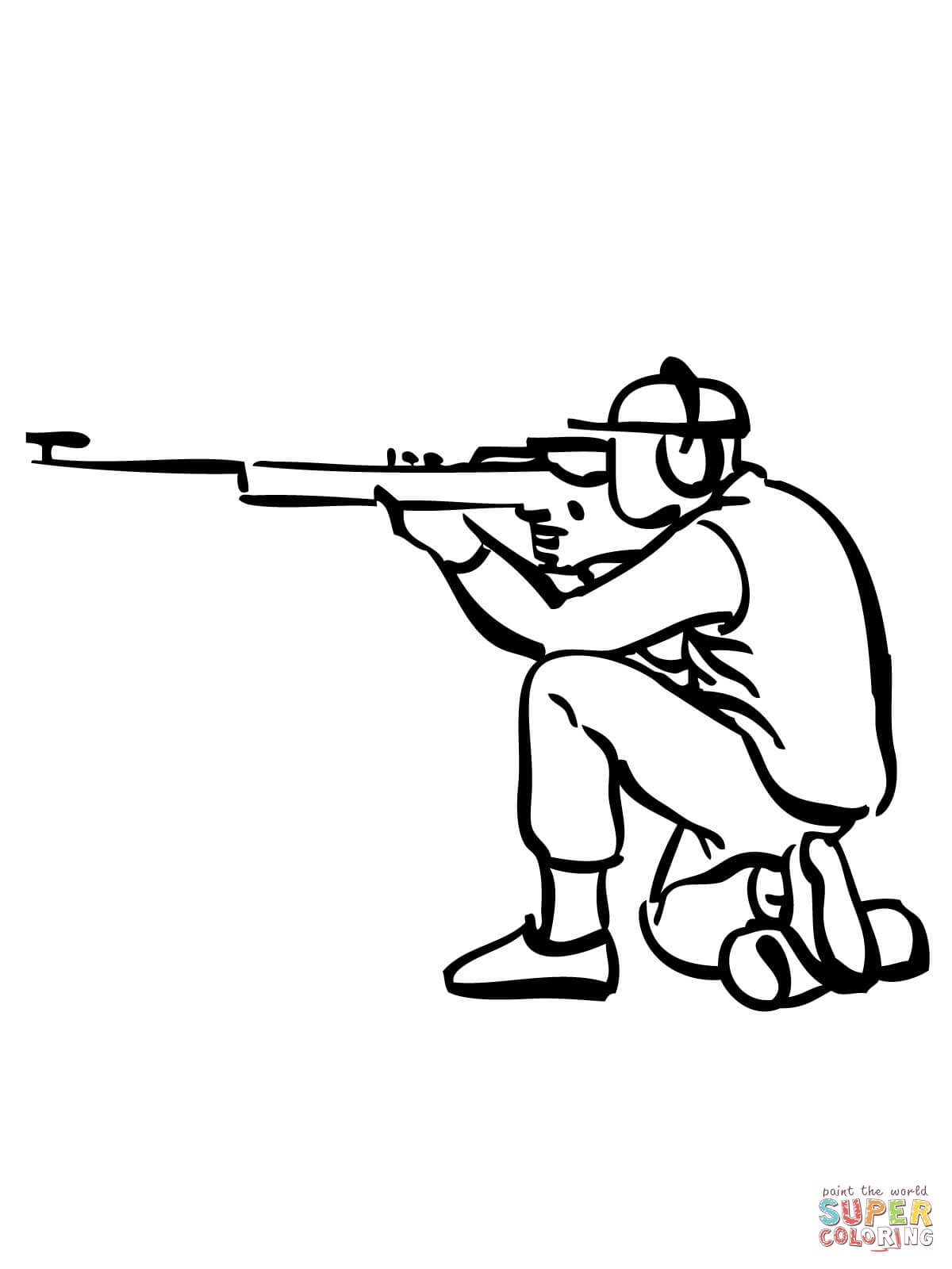 Rifle Shooting Coloring Page
