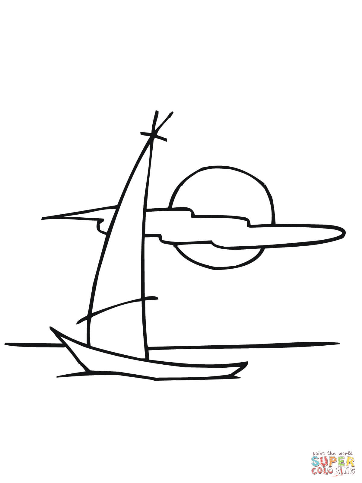 Sailing Dinghy Boat Coloring Page