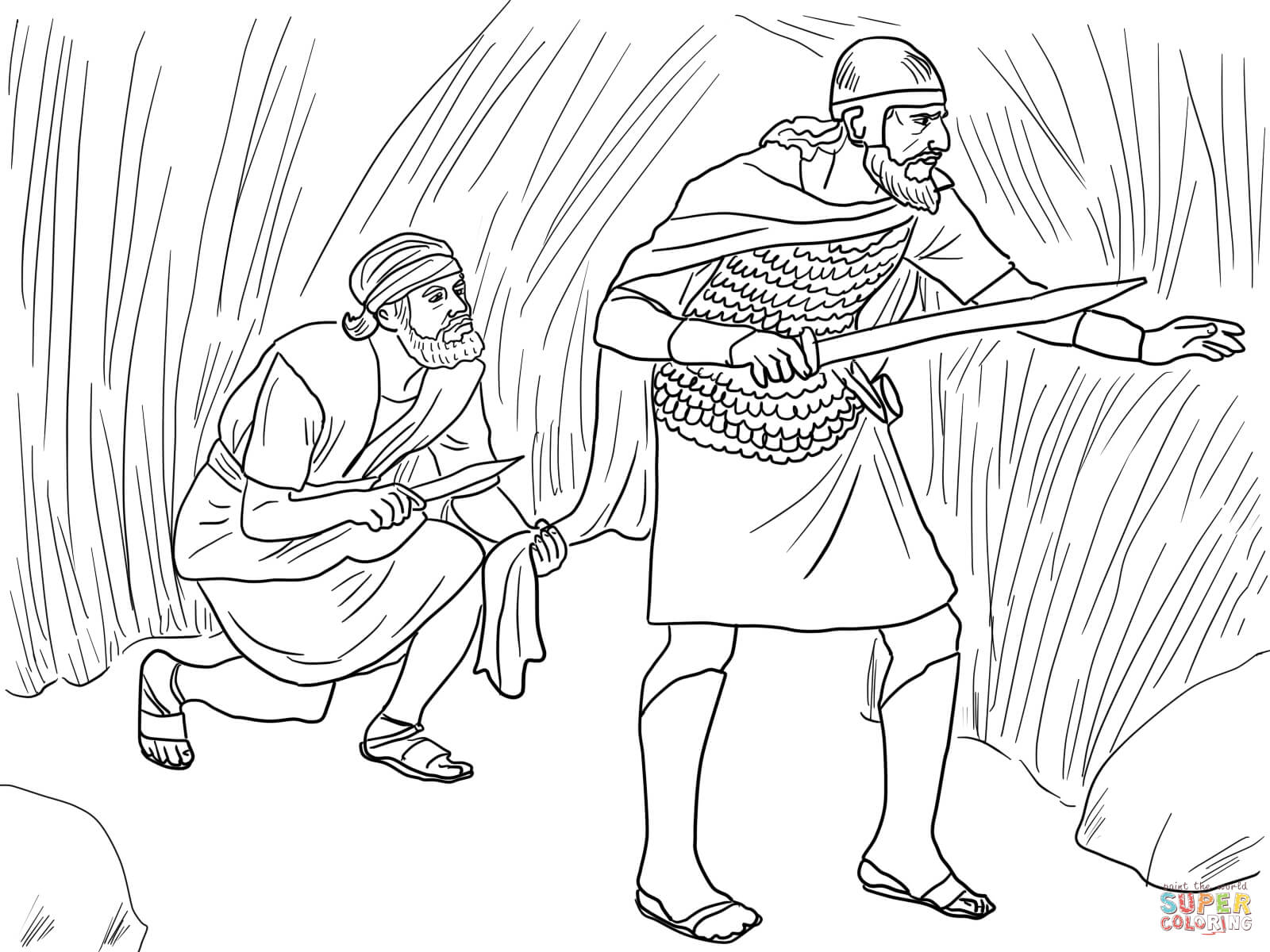 david cuts saul 39 s robe coloring page free printable coloring pages