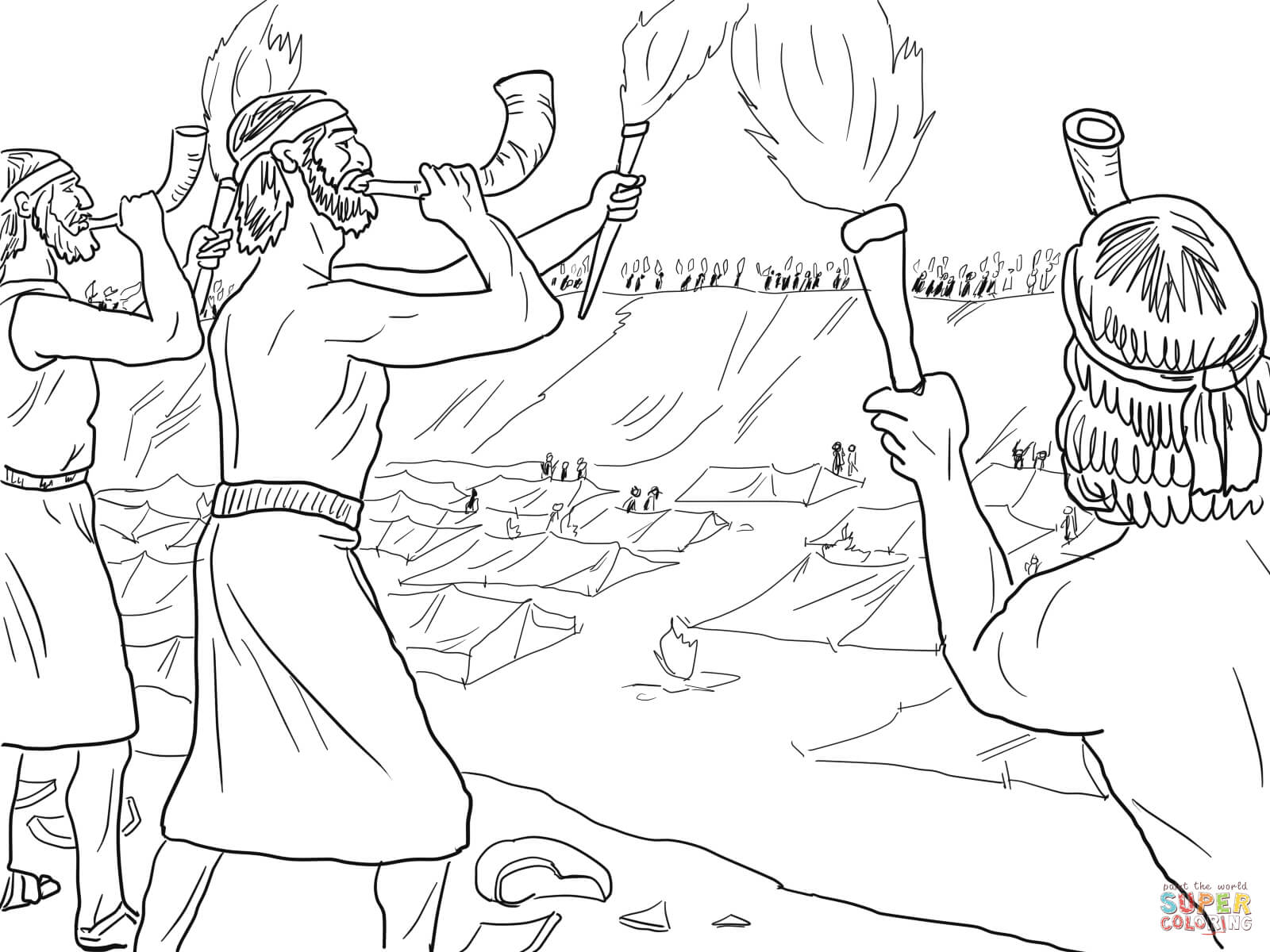 Gideon Sol Rs With Trumpets And Torches Coloring Page