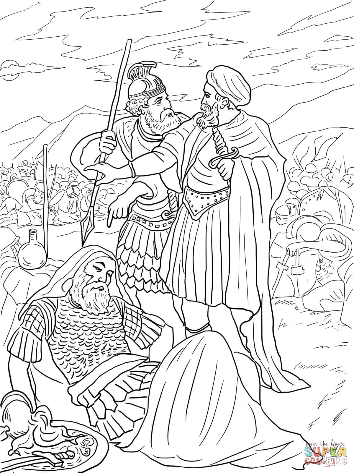 david spares king saul coloring page free printable coloring pages