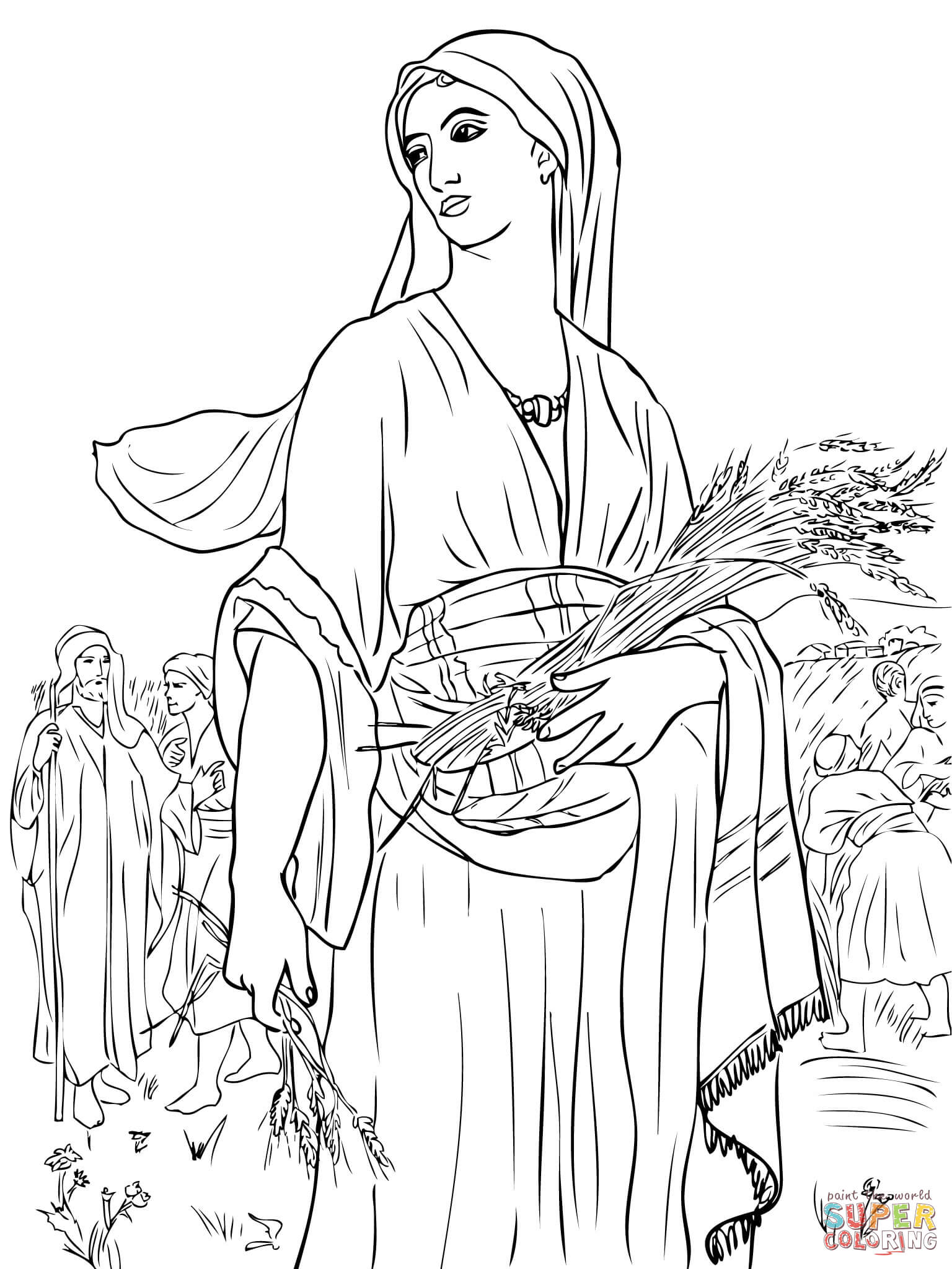Ruth In The Fields Coloring Page