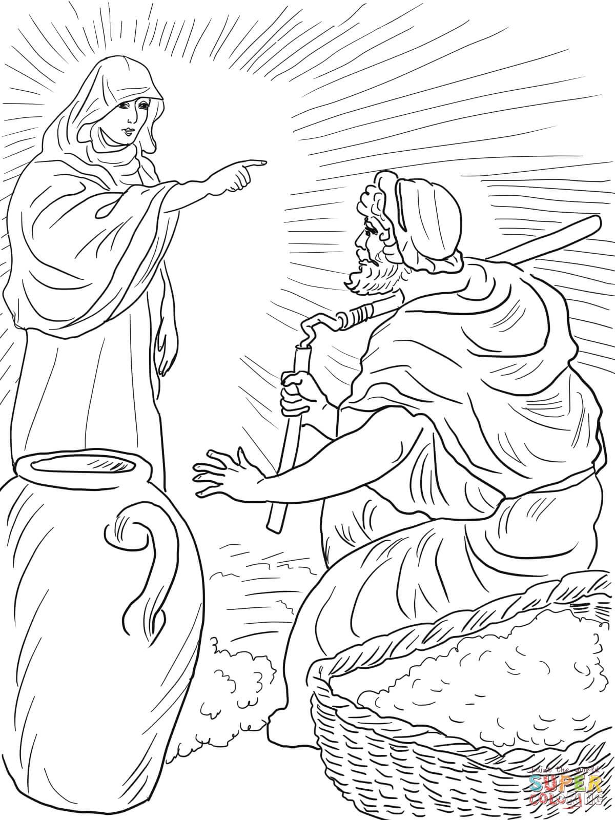 Dibujo De El Angel De Dios Llama A Gedeon Para Colorear