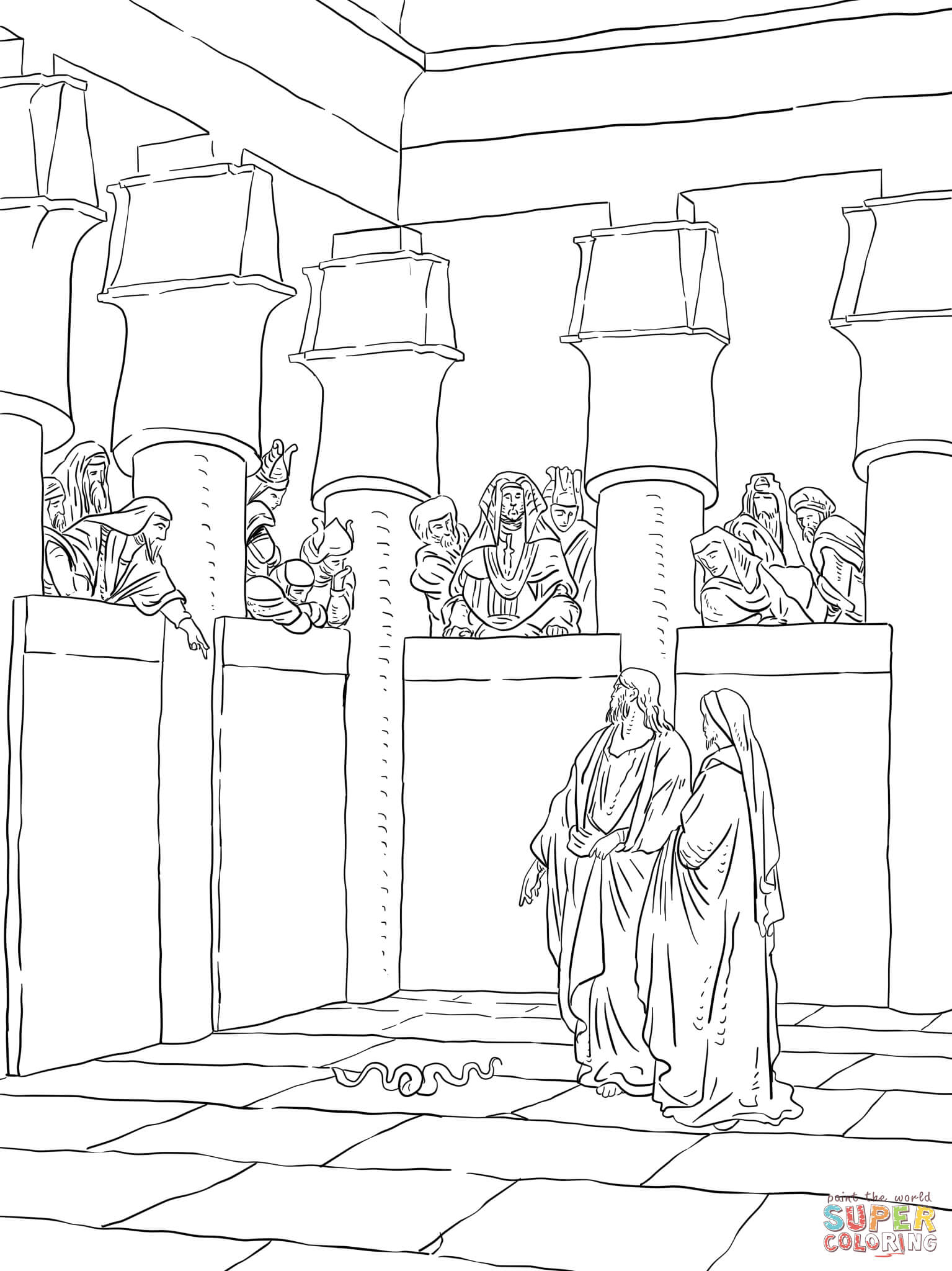 Moses And Aaron Appear Before Pharaoh Coloring Page