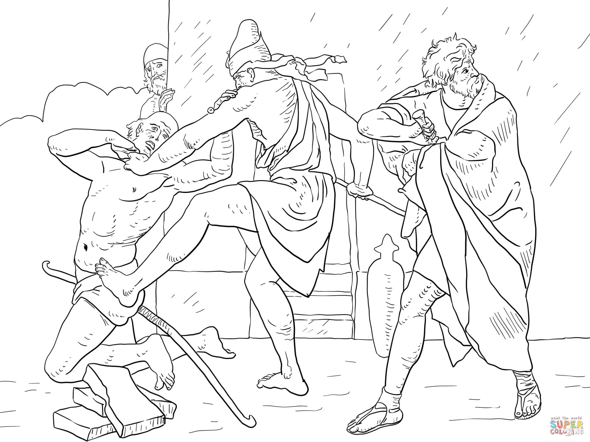 Moses Kills The Egyptian Overseer Coloring Page