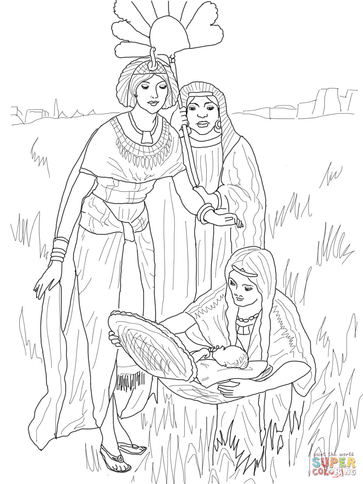 the finding of baby moses coloring page free printable coloring