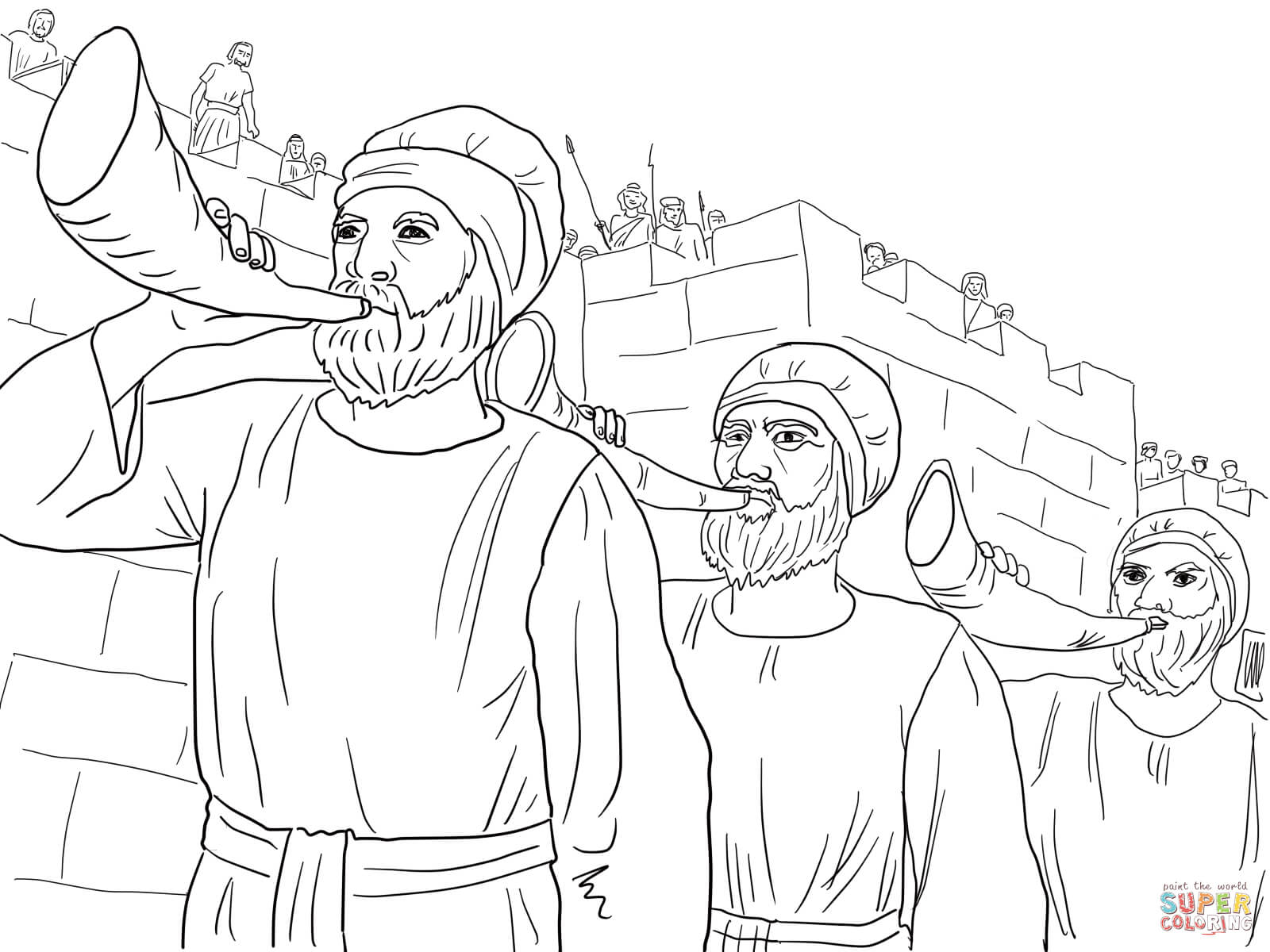 Joshua Army Marching Around The Jericho Blowing Trumpets Coloring Page