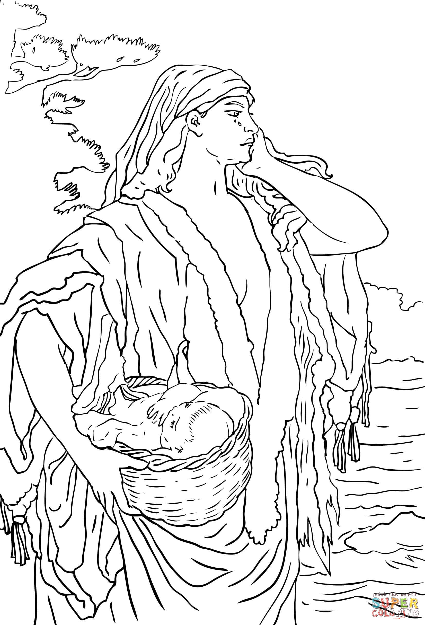 baby moses and jochebed coloring page free printable coloring pages