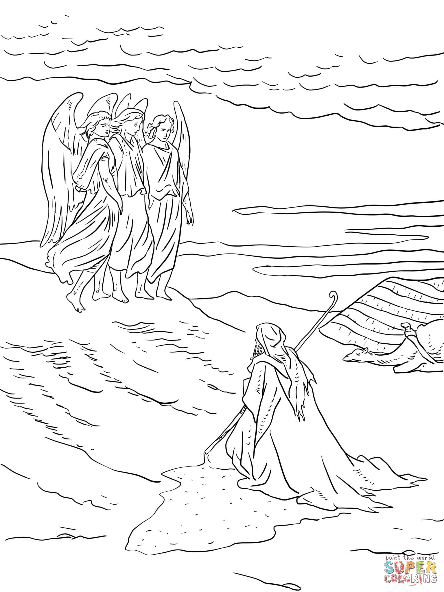 Abraham And Three Visitors Coloring Page Sketch Coloring Page